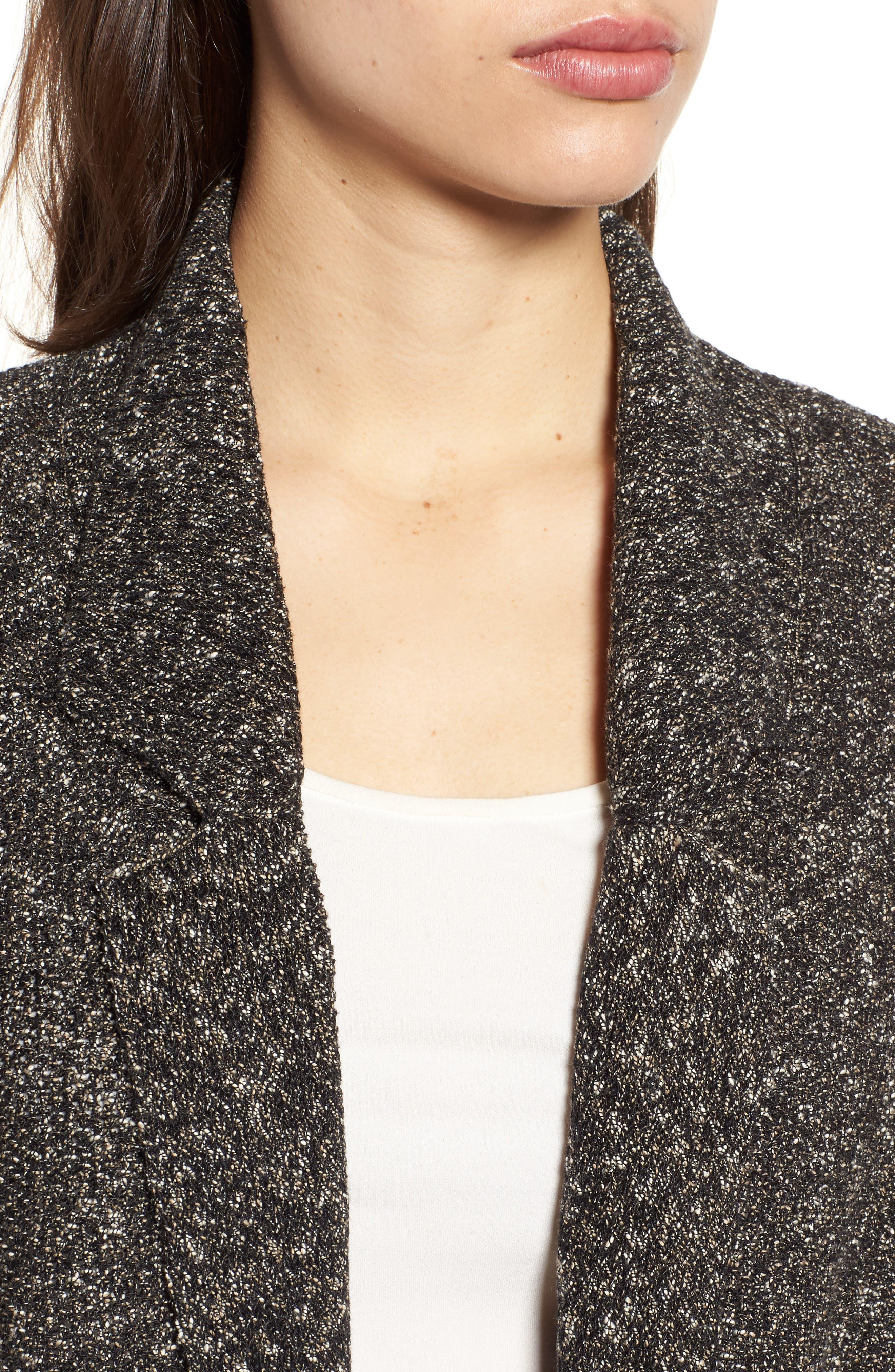 Tweed Sweater Jacket,                             Alternate thumbnail 4, color,                             Black