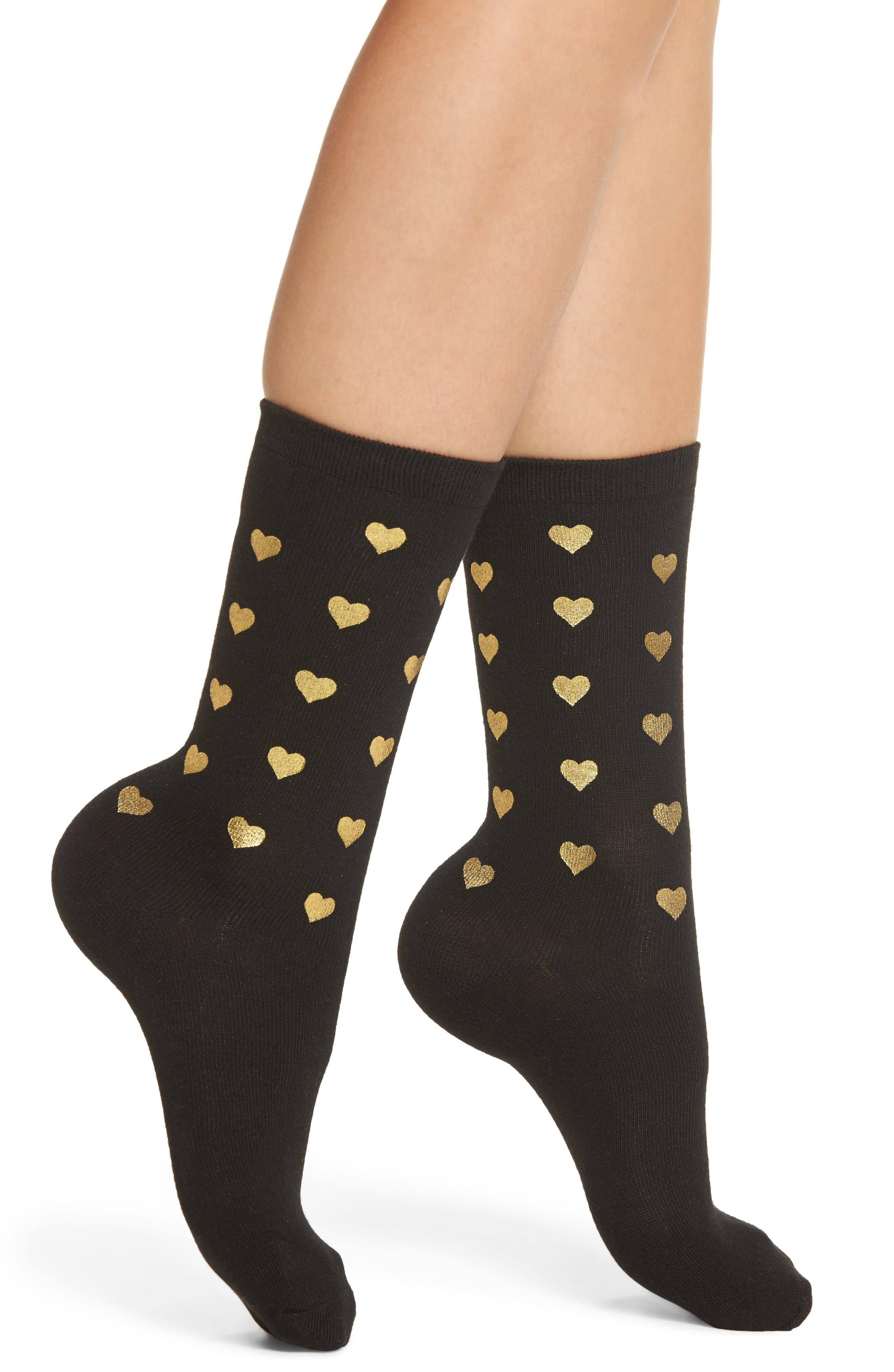 Foil Heart Crew Socks,                             Main thumbnail 1, color,                             Black W/Gold