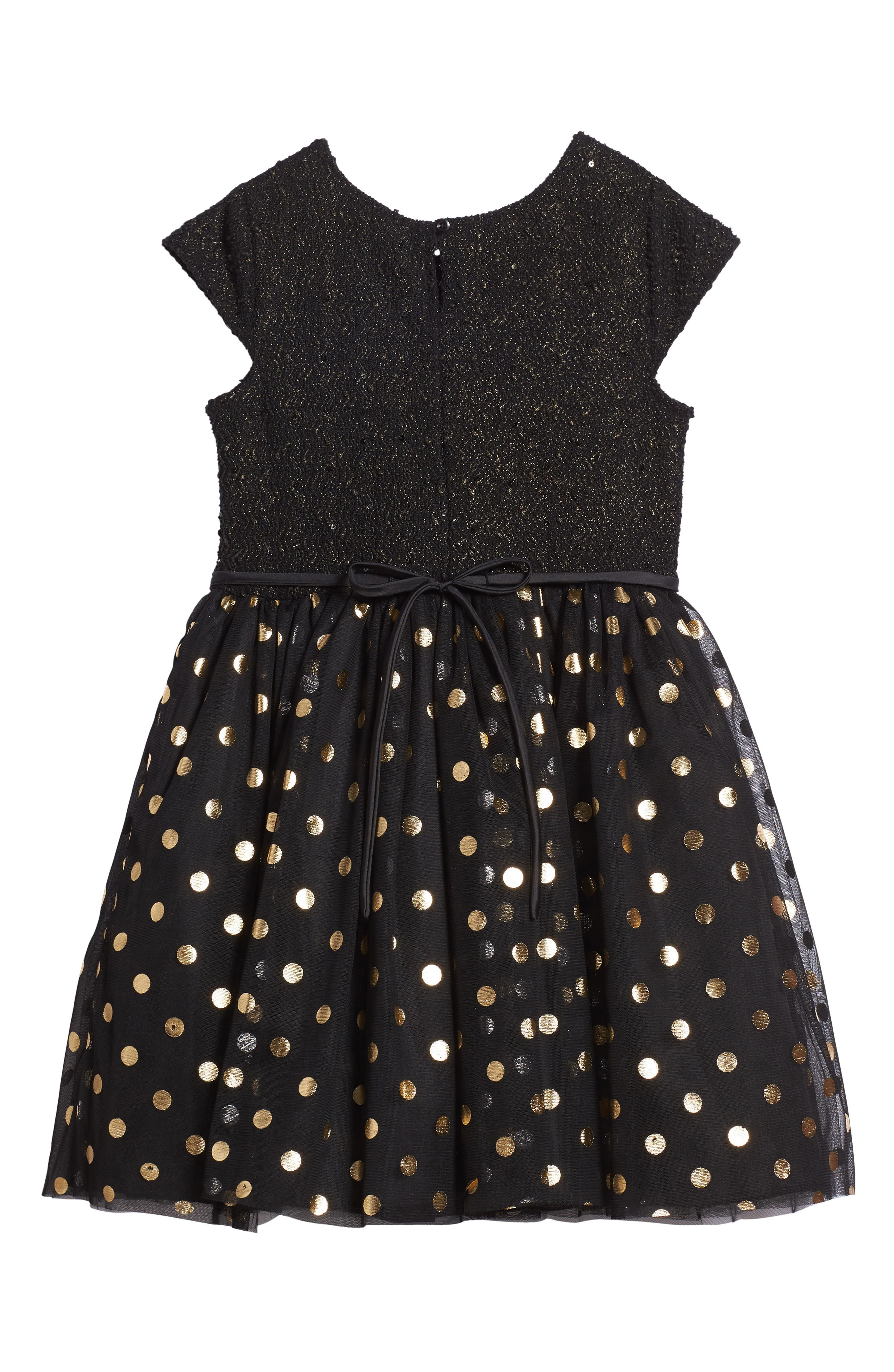 Metallic Dot Dress,                             Alternate thumbnail 2, color,                             Black/ Gold