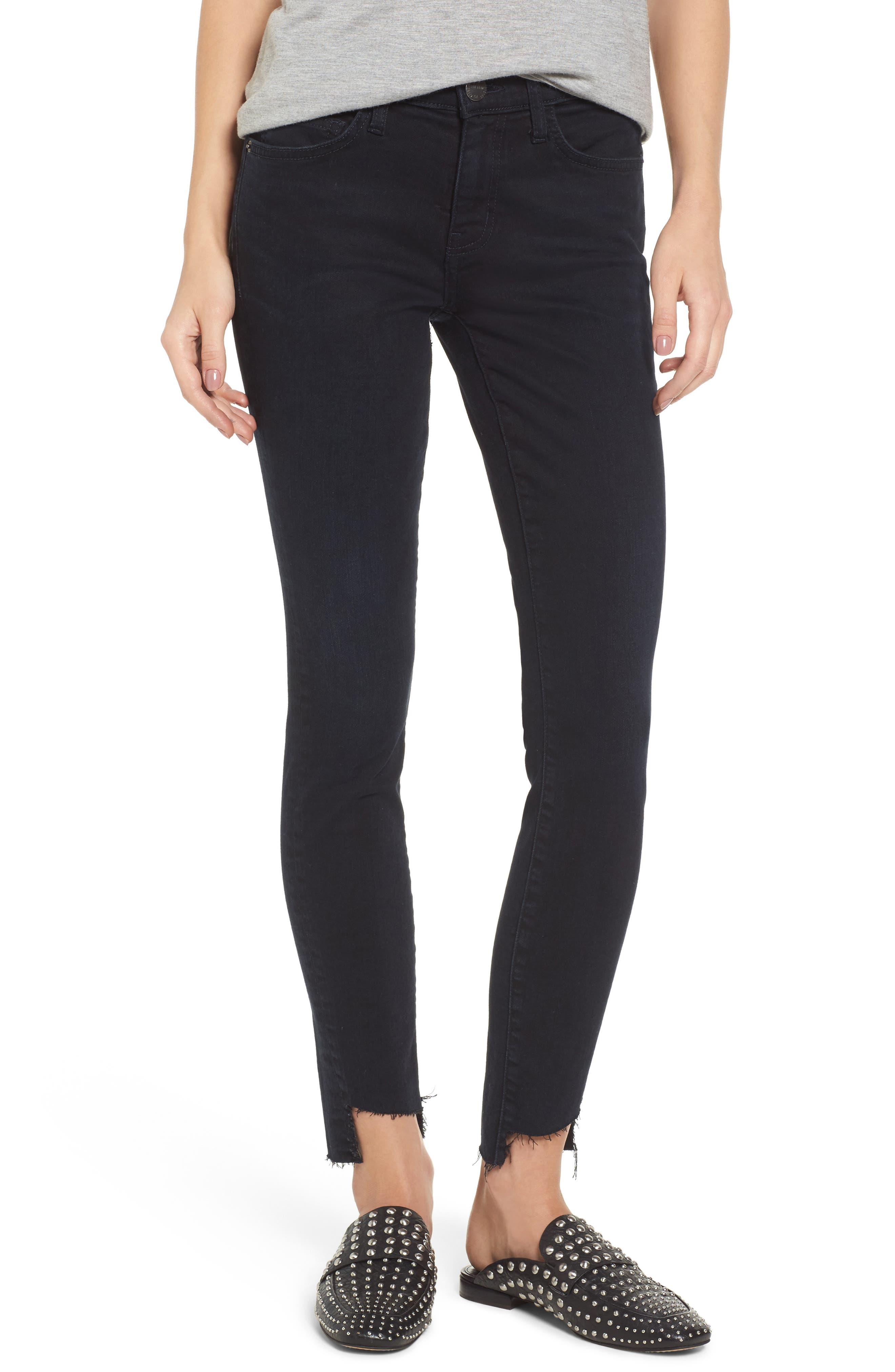 The High Waist Stiletto Ankle Skinny Jeans,                             Main thumbnail 1, color,                             Blueridge W/ Uneven Cut Hem