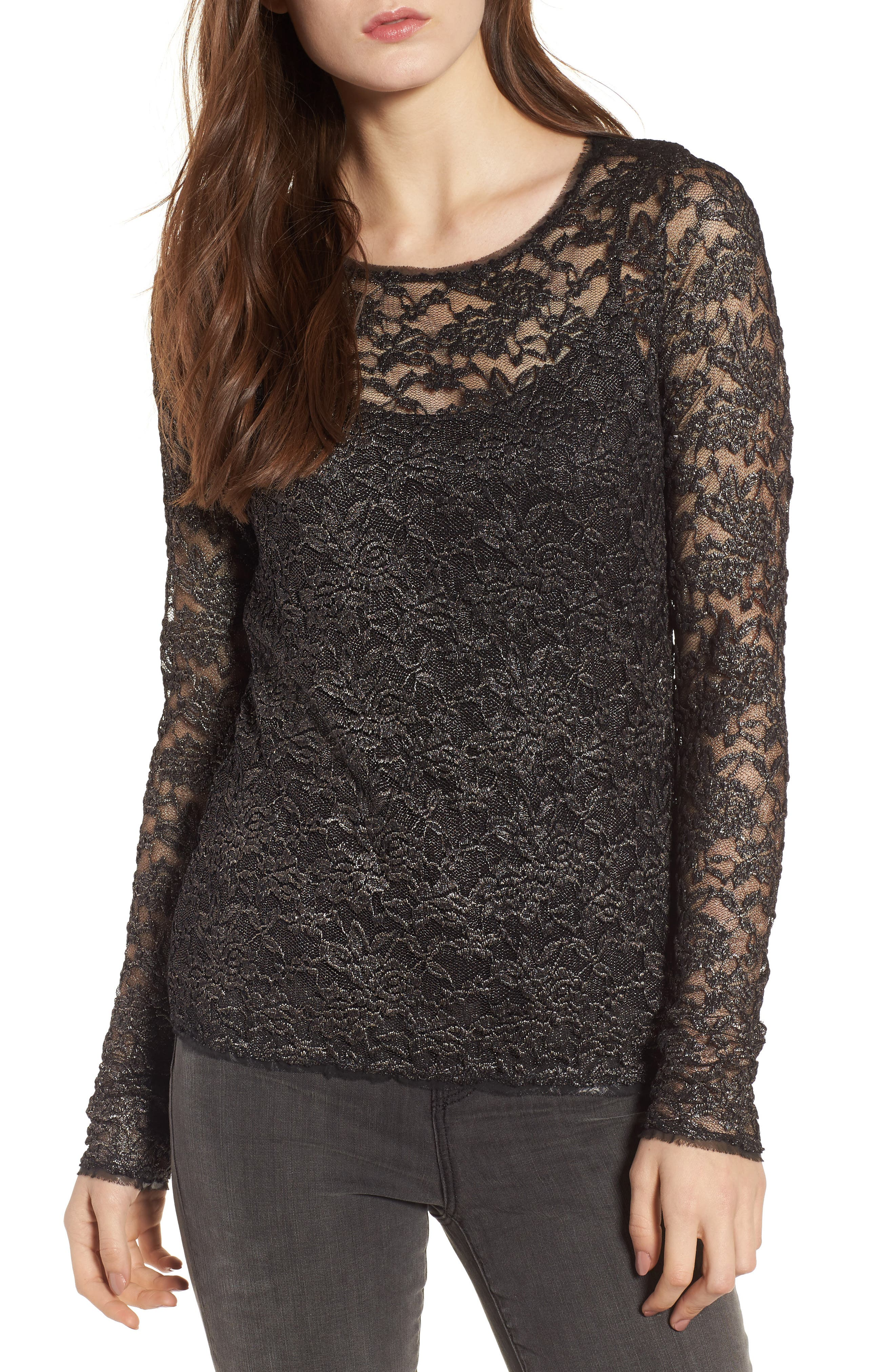 Final Cut Lace Top,                         Main,                         color, Black