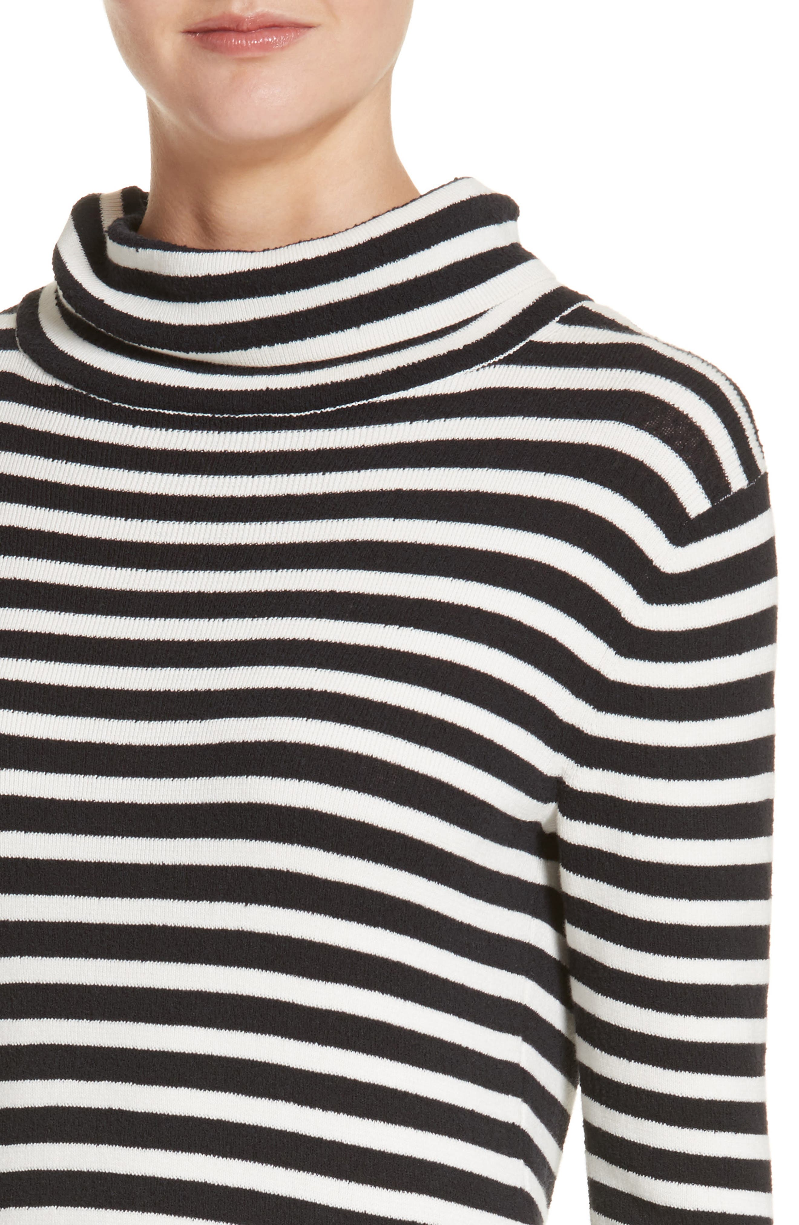 Stripe Cowl Neck Dress,                             Alternate thumbnail 4, color,                             Black/ Ivory