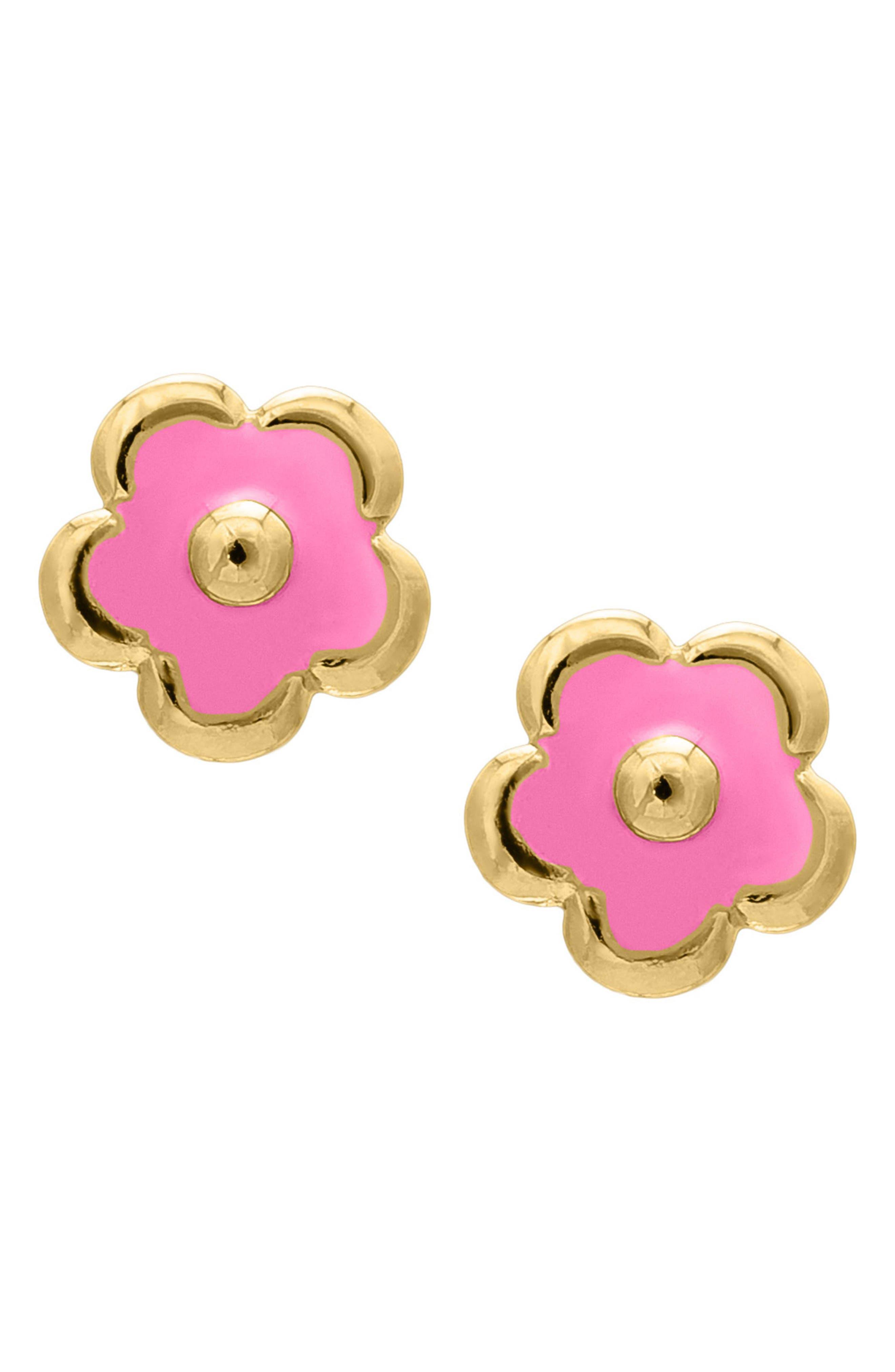 14k Gold Flower Earrings,                             Alternate thumbnail 3, color,                             Gold