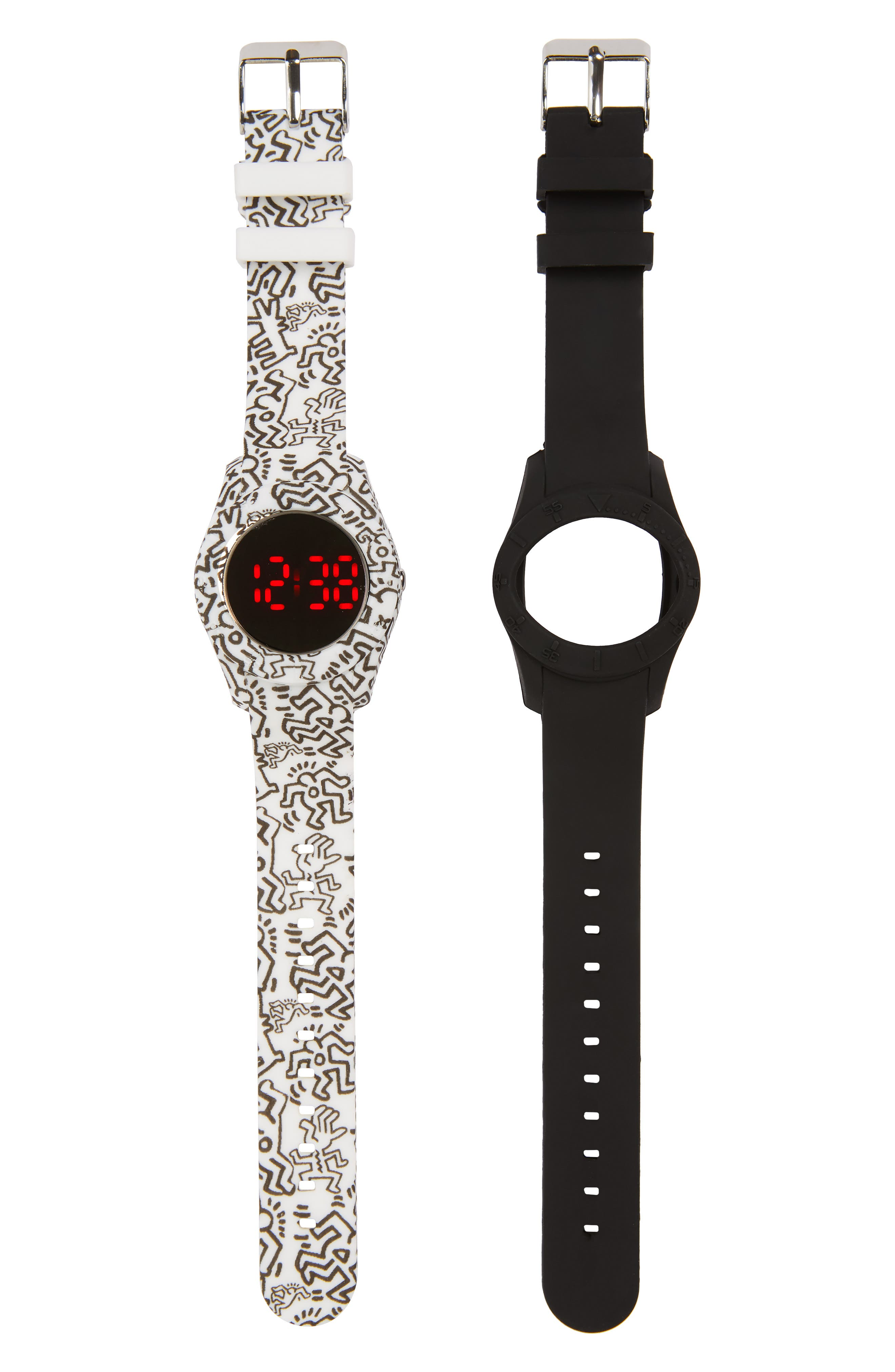 LED Watch with Interchangeable Band,                         Main,                         color, Graffiti