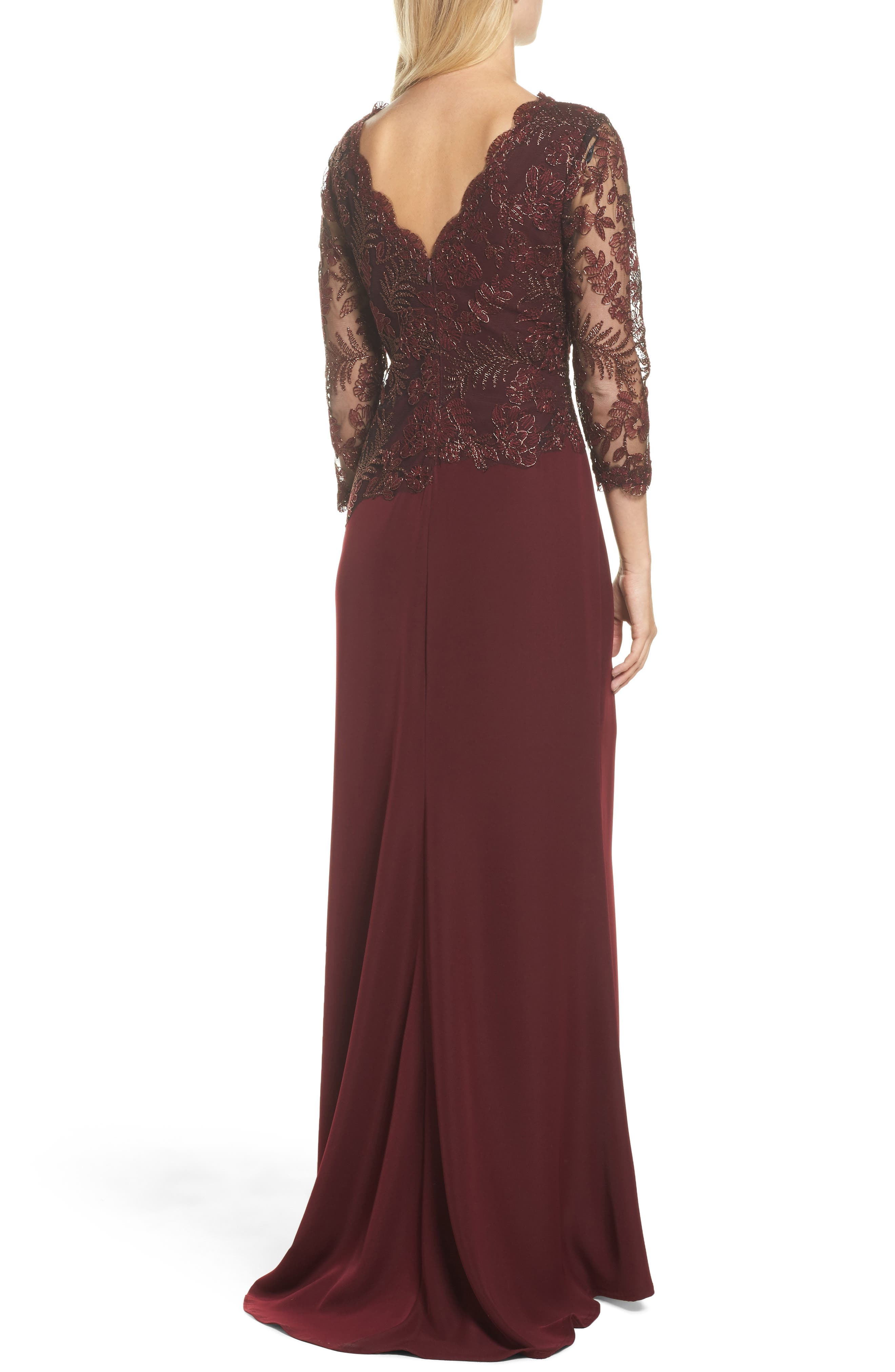 Embroidered Woven Gown,                             Alternate thumbnail 2, color,                             Raisin
