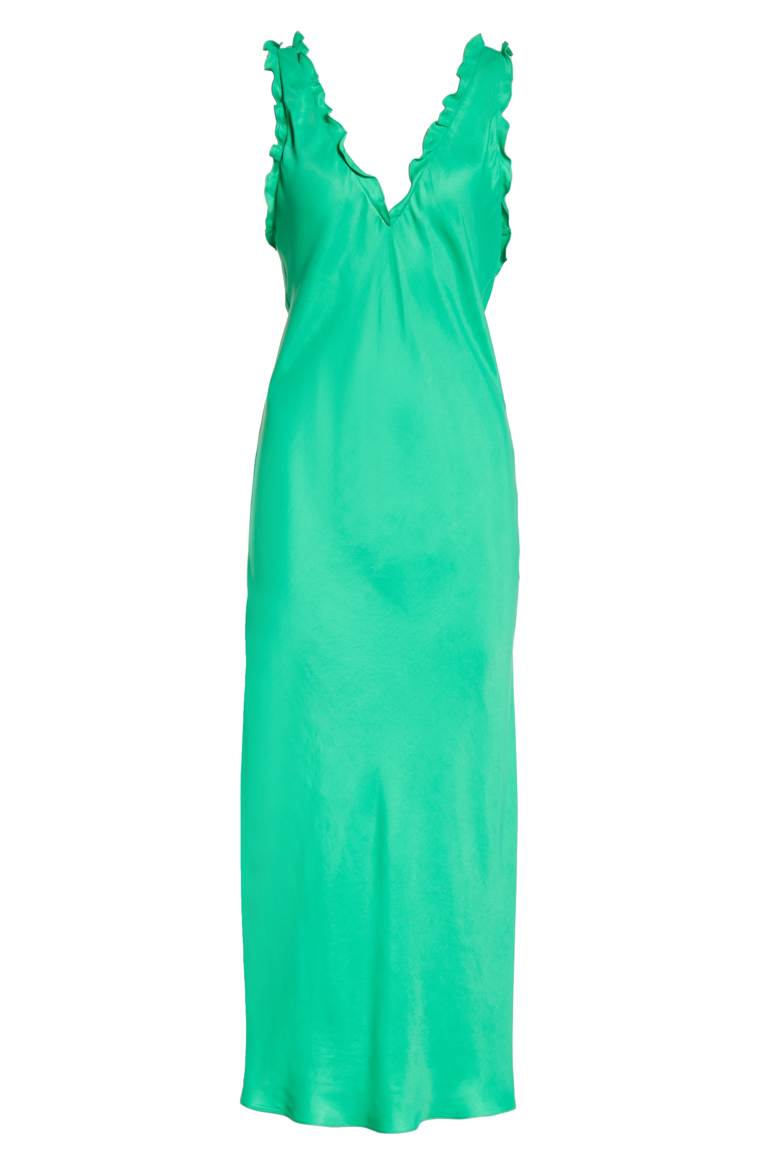 Ruffle Bias Midi Dress,                             Alternate thumbnail 6, color,                             Green