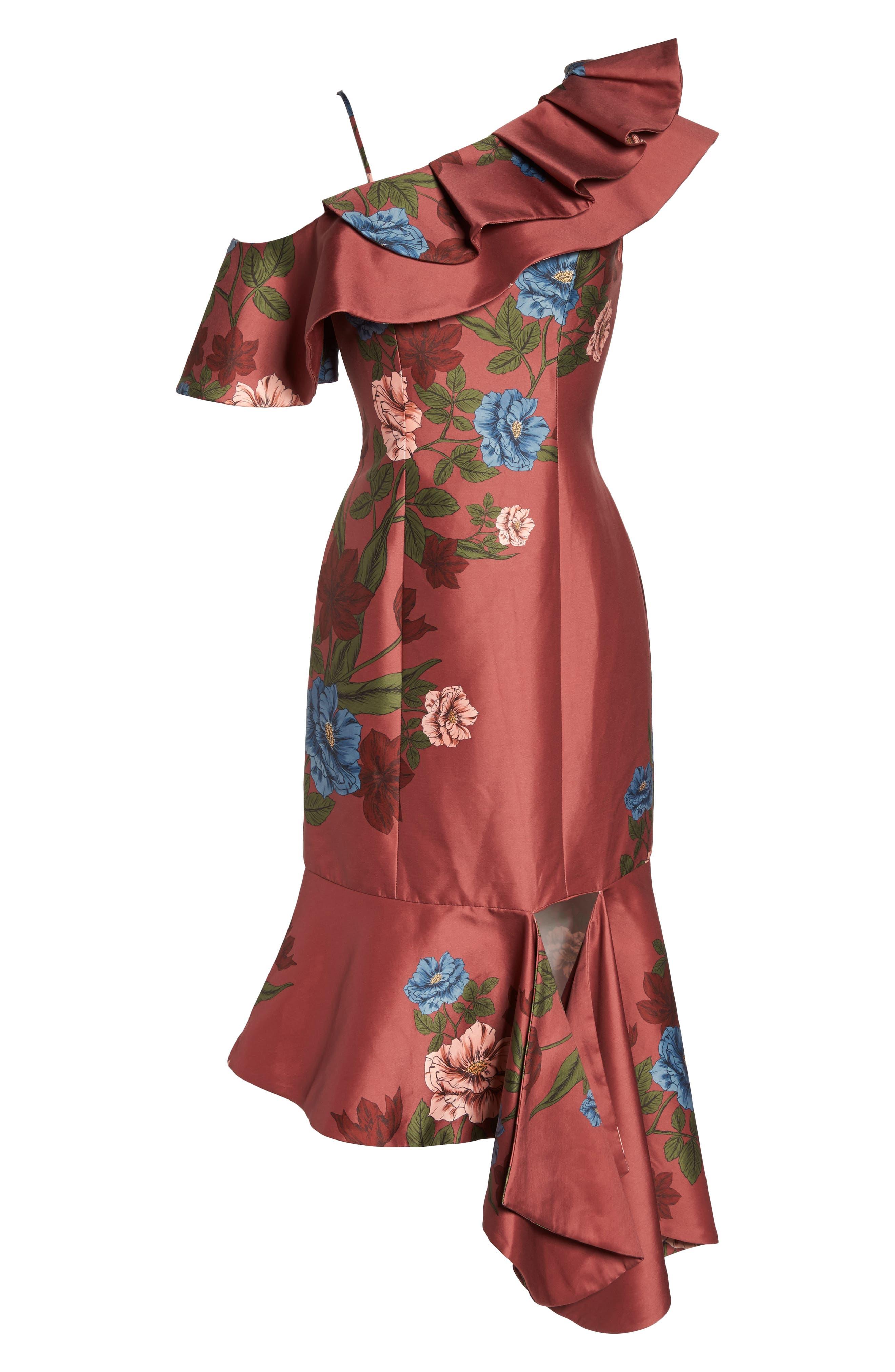Night Lights Floral Asymmetrical Dress,                             Alternate thumbnail 6, color,                             Spice Floral