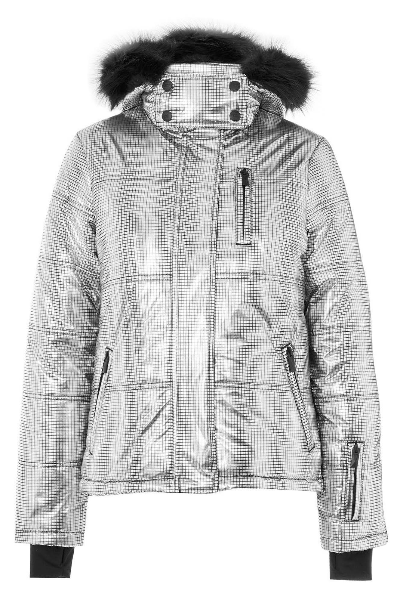 SNO Rio Faux Fur Hood Metallic Puffer Jacket,                             Alternate thumbnail 9, color,                             Silver