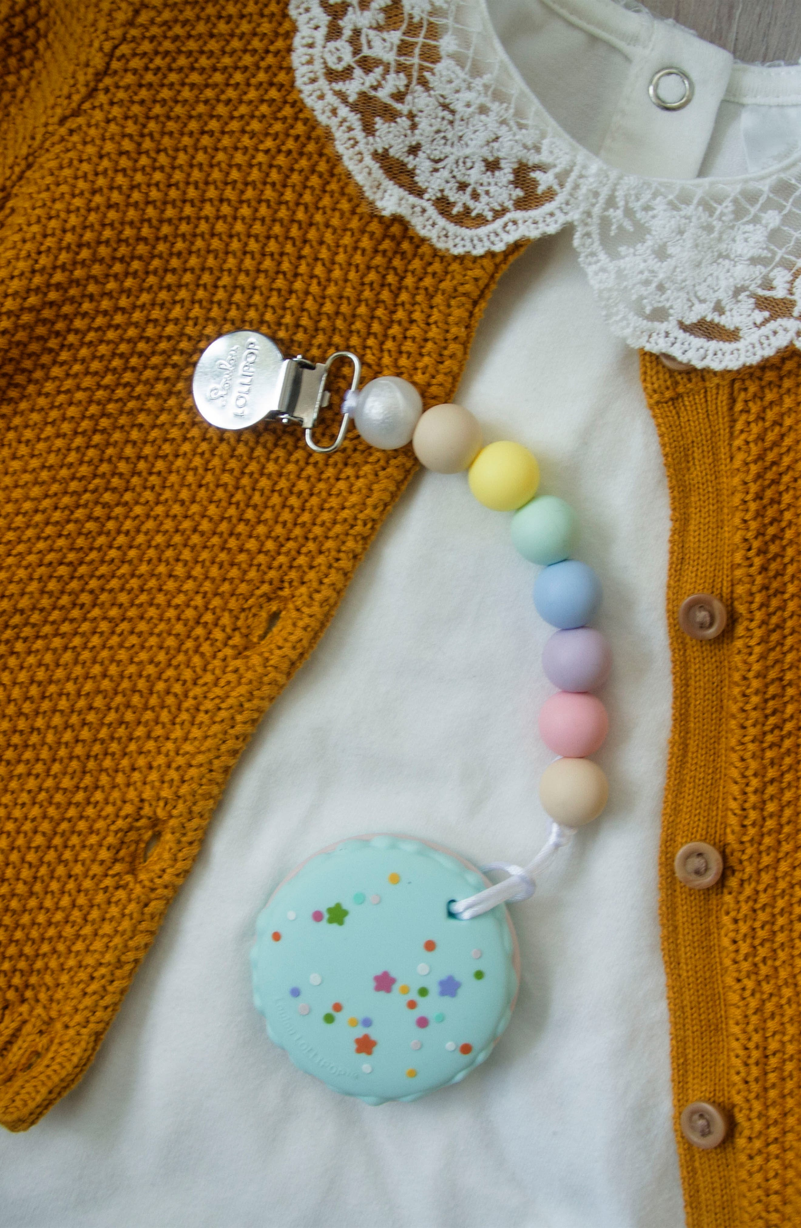 Macaron Teething Toy,                             Alternate thumbnail 3, color,                             Seafoam