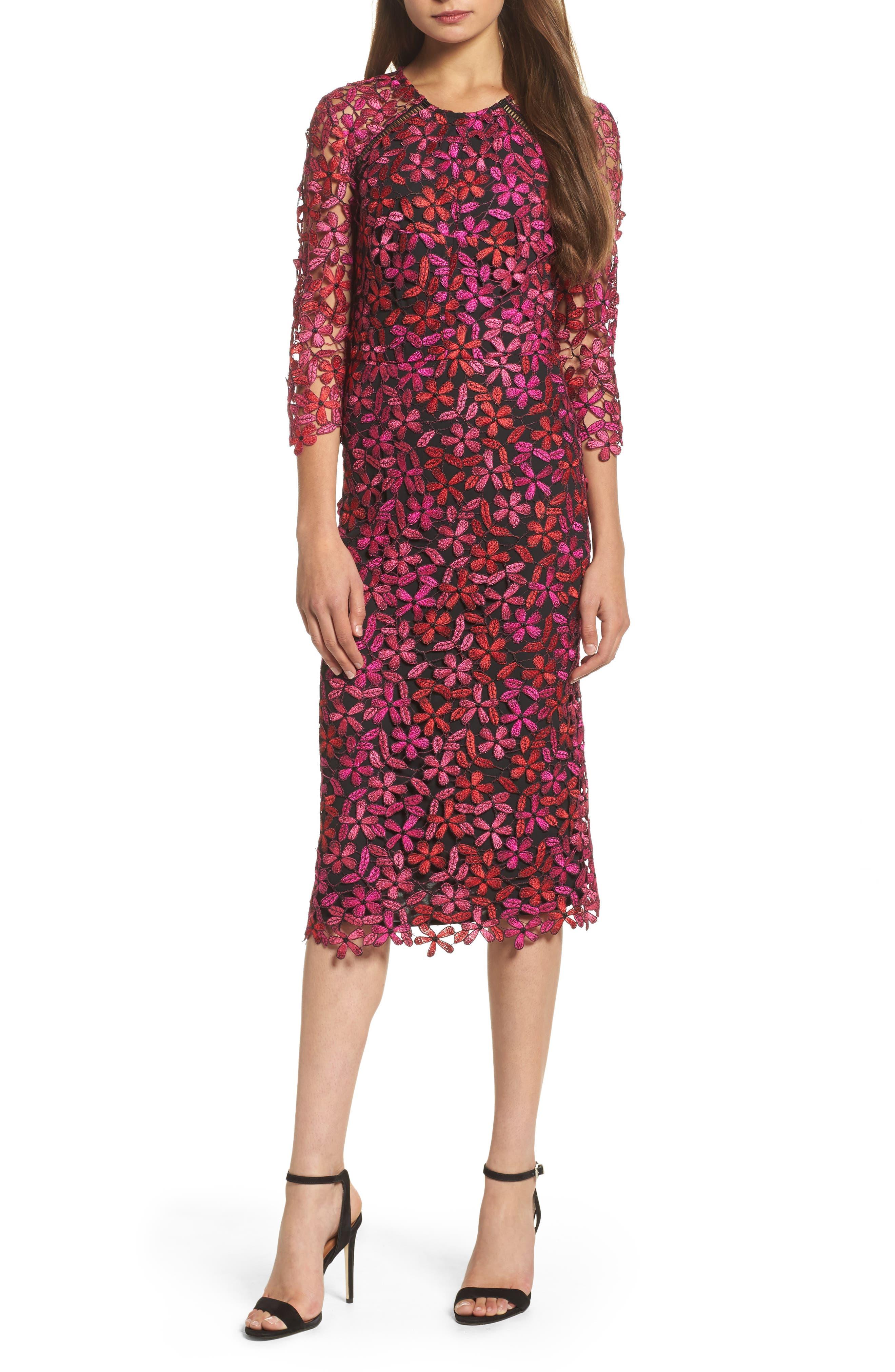 Floral Lace Sheath Dress,                         Main,                         color, Fuchsia Multi