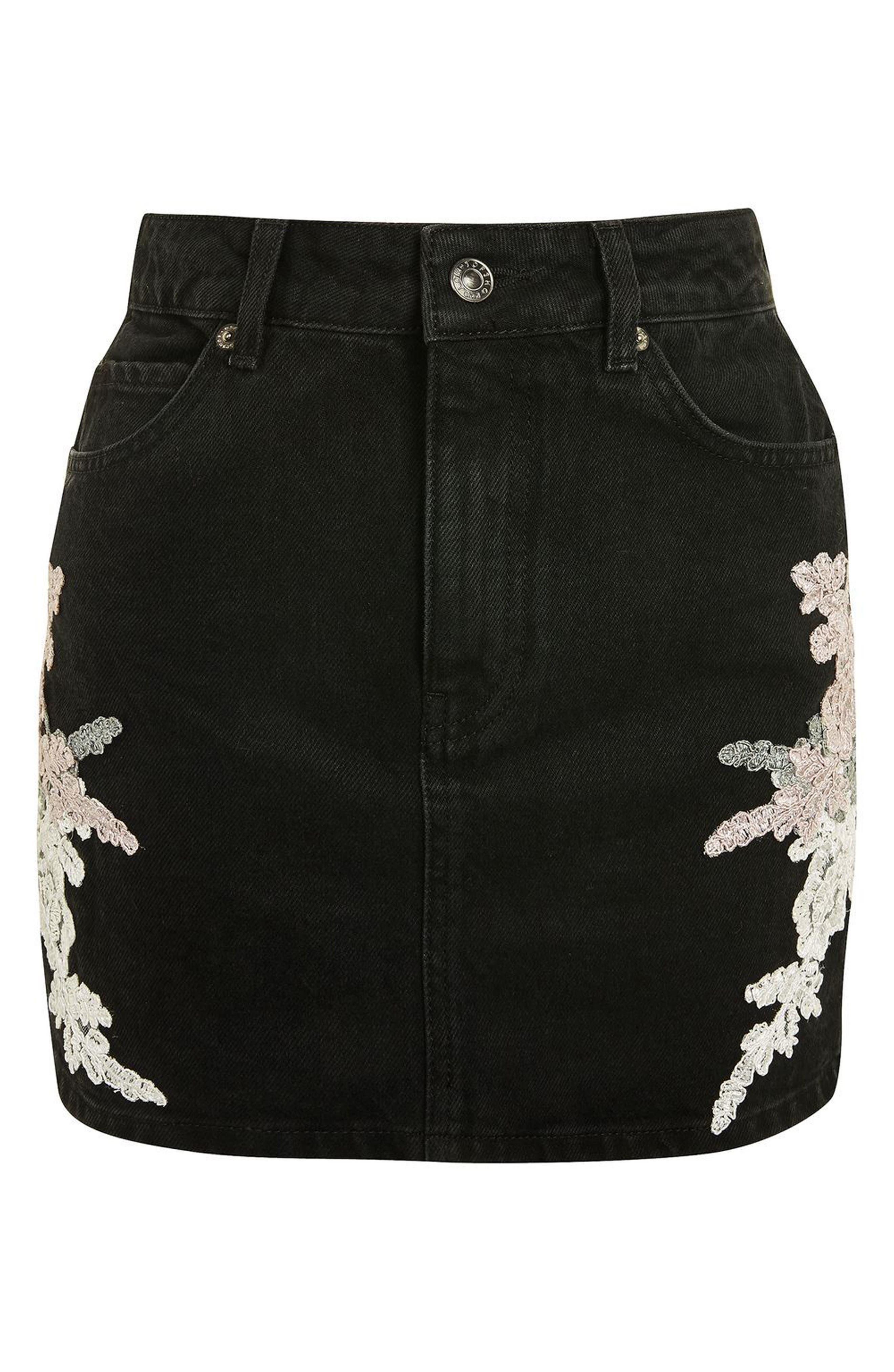 Lace Appliqué Denim Skirt,                             Alternate thumbnail 4, color,                             Black Multi