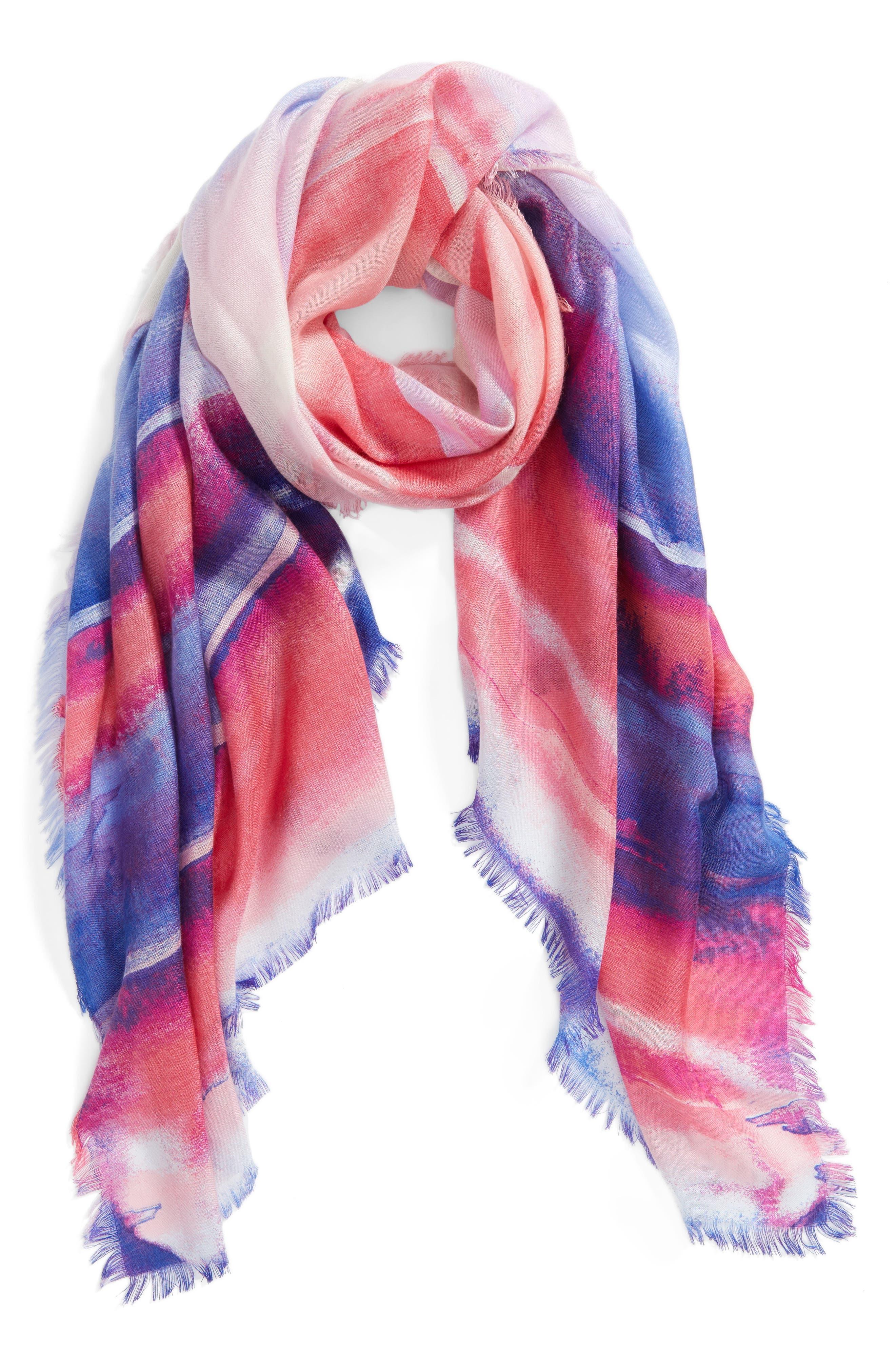 Eyelash Trim Print Cashmere & Silk Wrap,                             Alternate thumbnail 2, color,                             Purple Artist Landscape