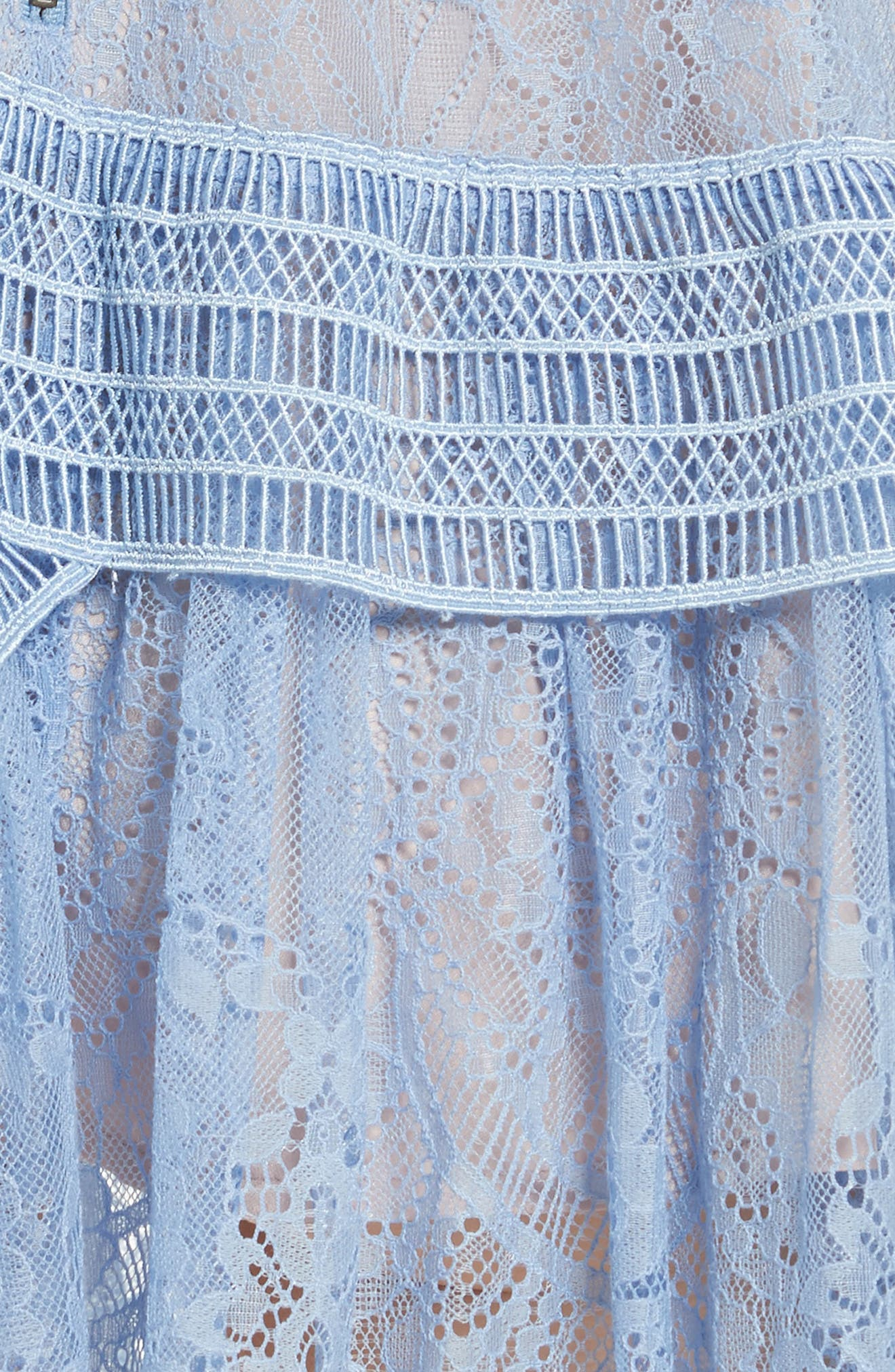 Lace Off the Shoulder Minidress,                             Alternate thumbnail 5, color,                             Baby Blue