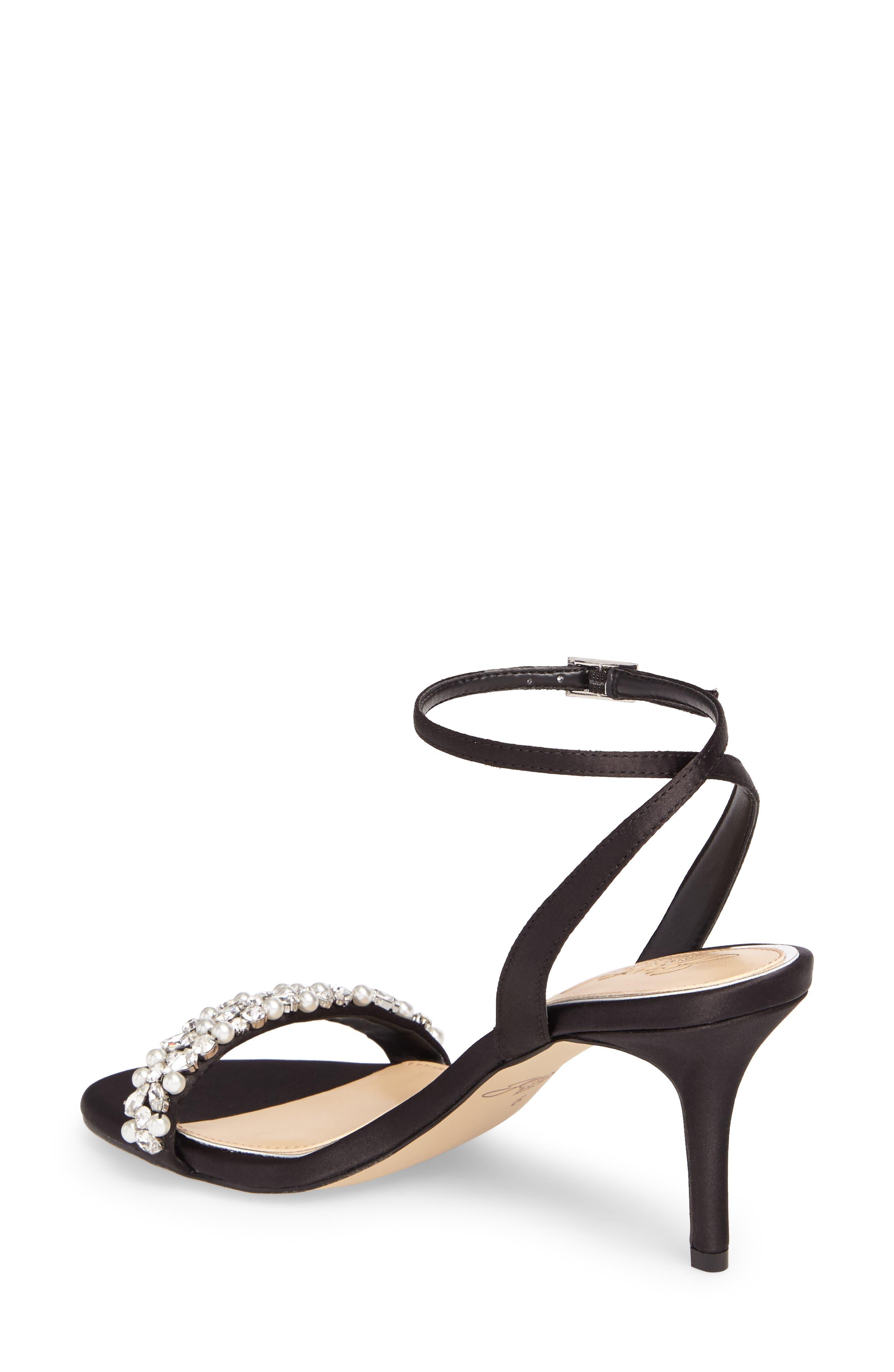 Jewel by Badgley Mischka Theodora Ankle Strap Sandal,                             Alternate thumbnail 2, color,                             Black Satin