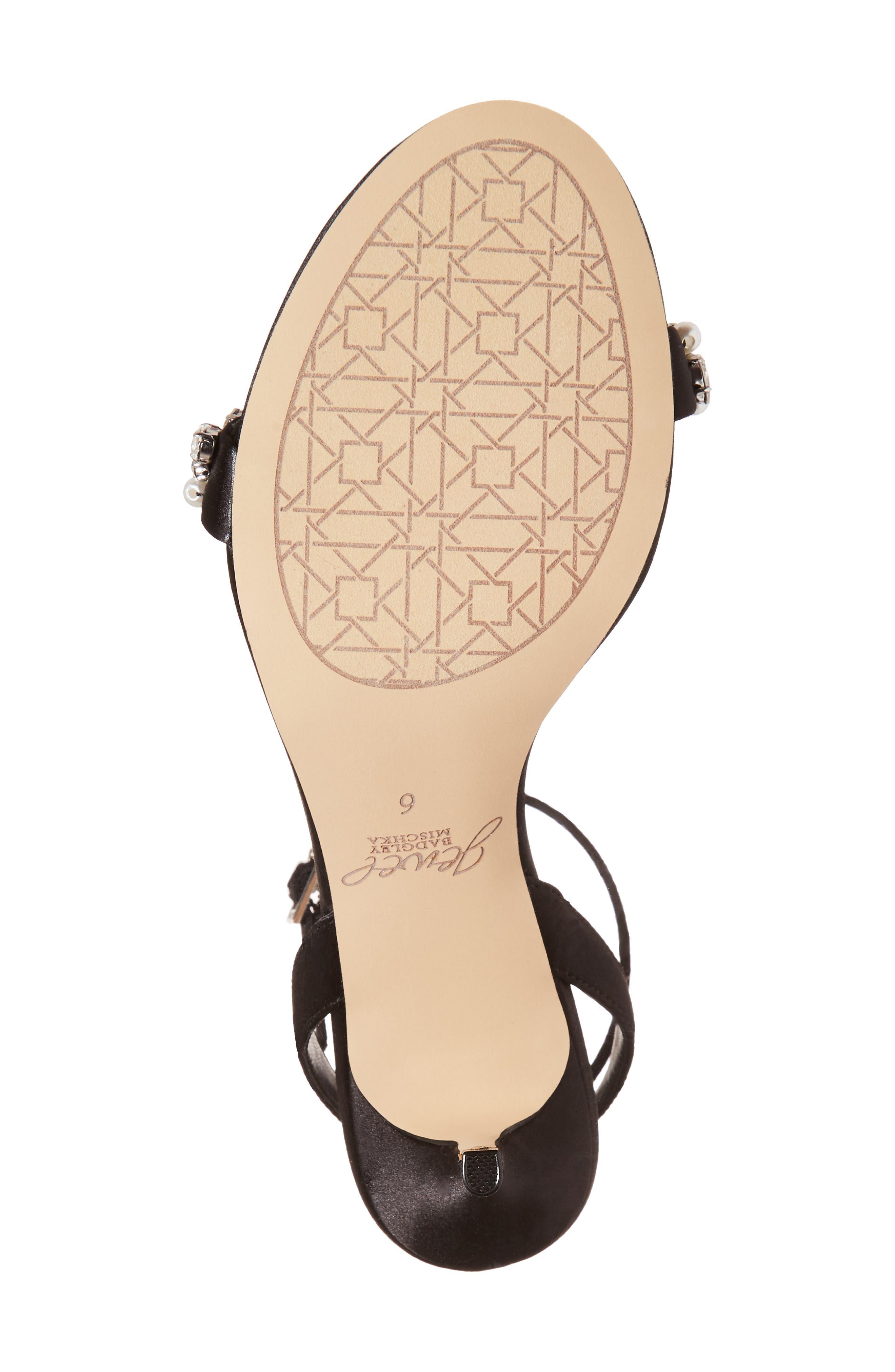 Jewel by Badgley Mischka Theodora Ankle Strap Sandal,                             Alternate thumbnail 6, color,                             Black Satin
