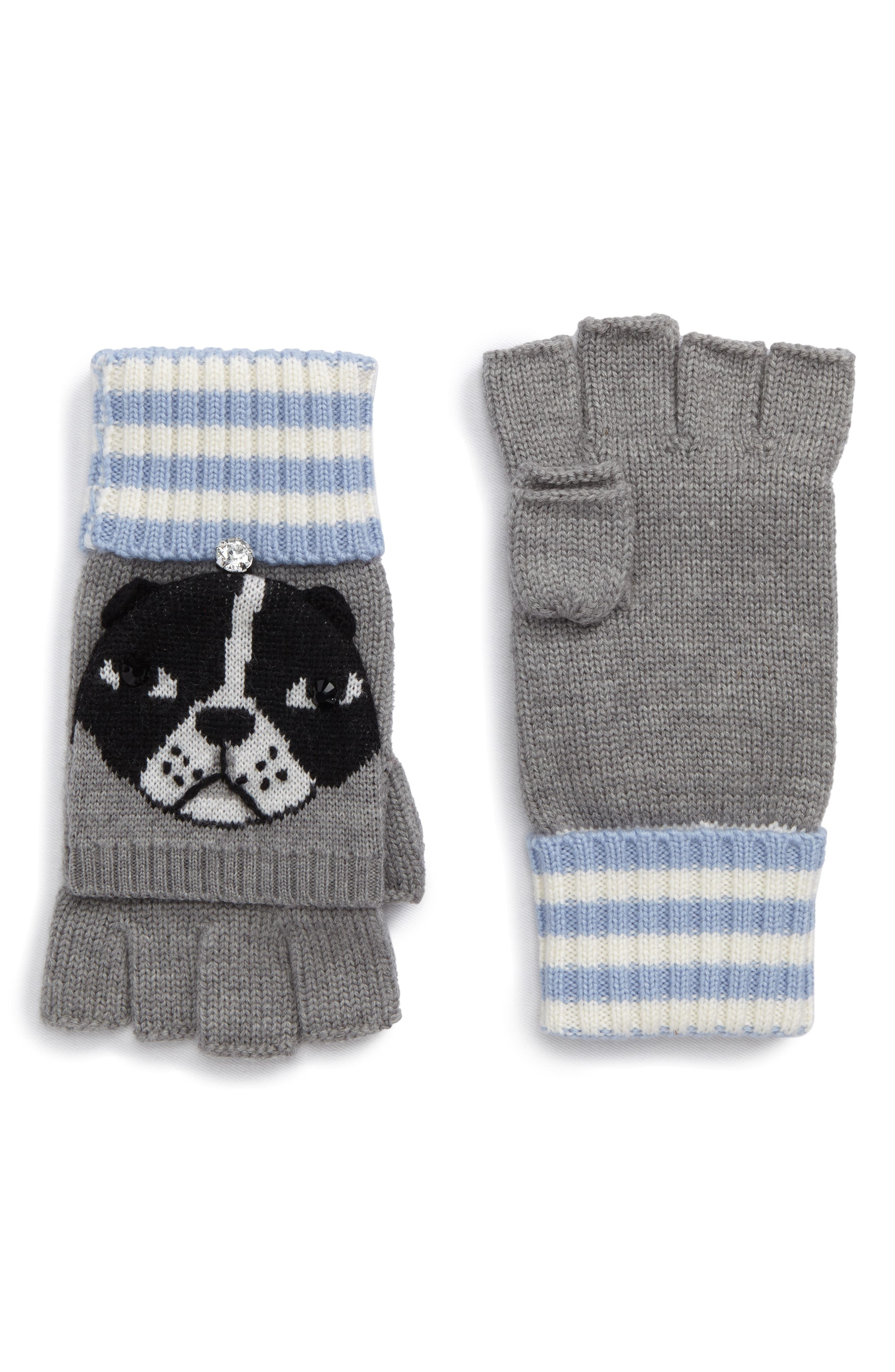 kate spade new york french bulldog merino wool pop-top mittens