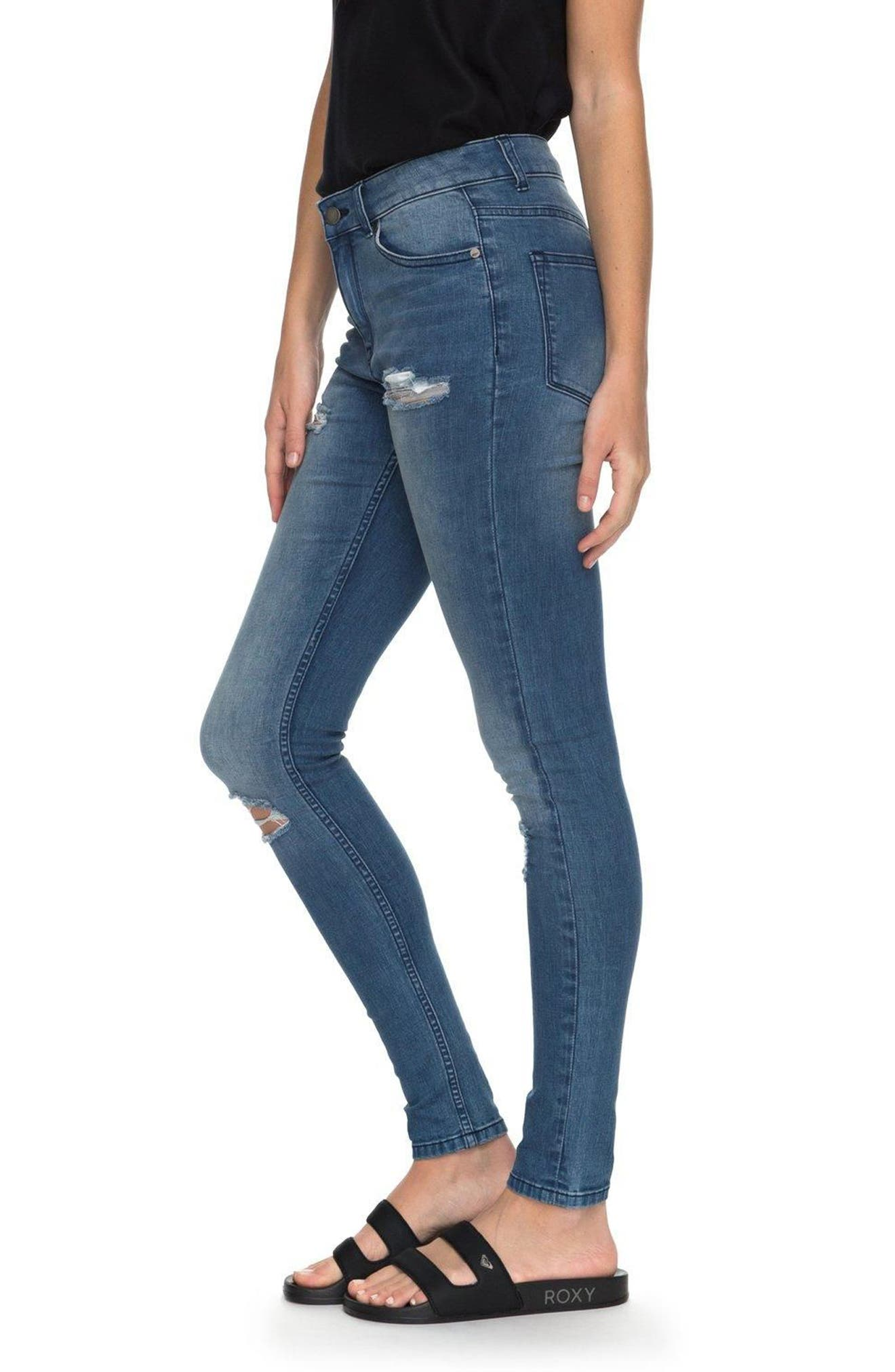 Alternate Image 4  - Roxy Just the Good Day Distressed Skinny Jeans