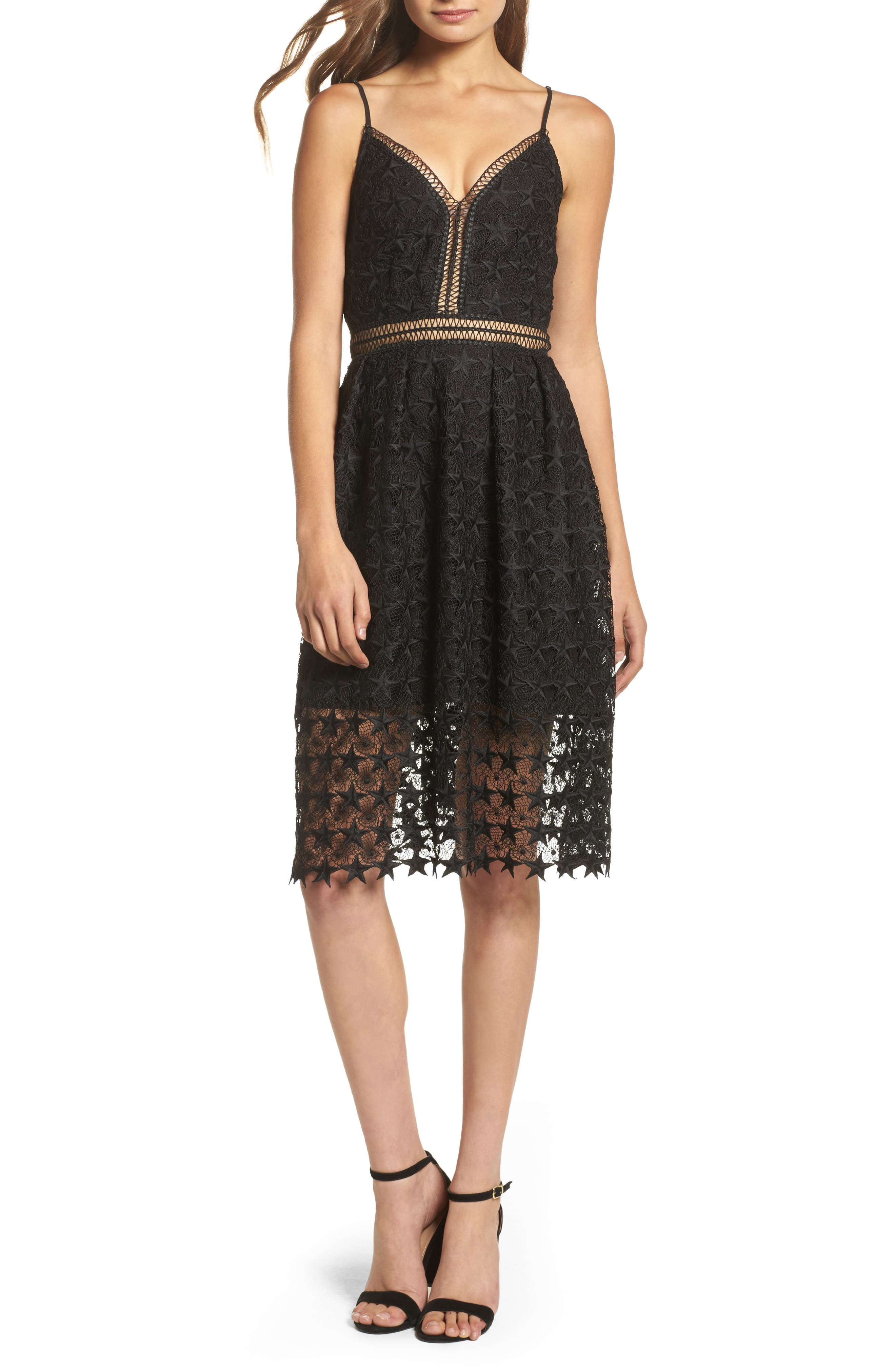Star Lace Fit & Flare Dress,                             Main thumbnail 1, color,                             Black Star