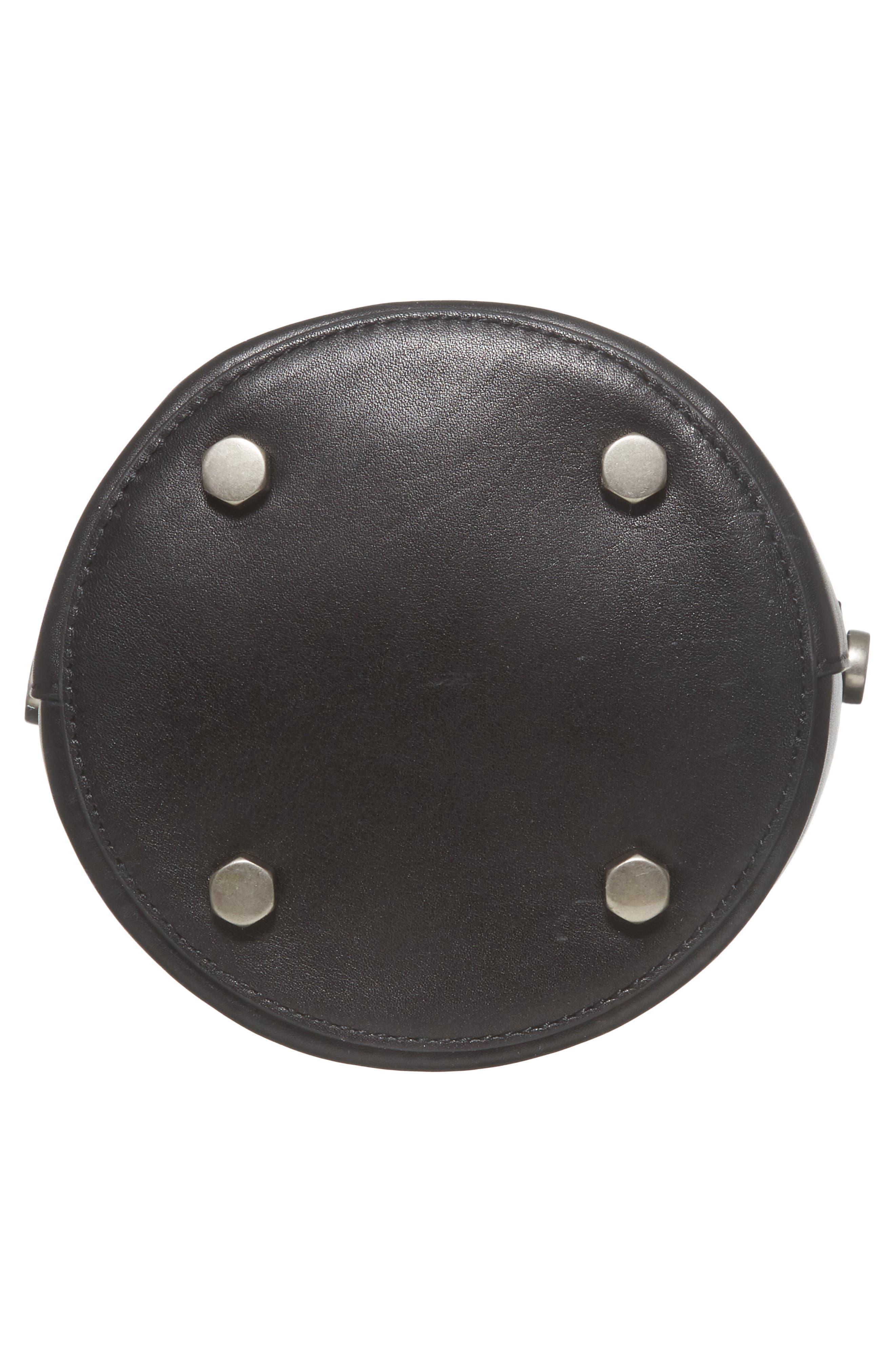 Ring Leather Bucket Bag,                             Alternate thumbnail 6, color,                             Black