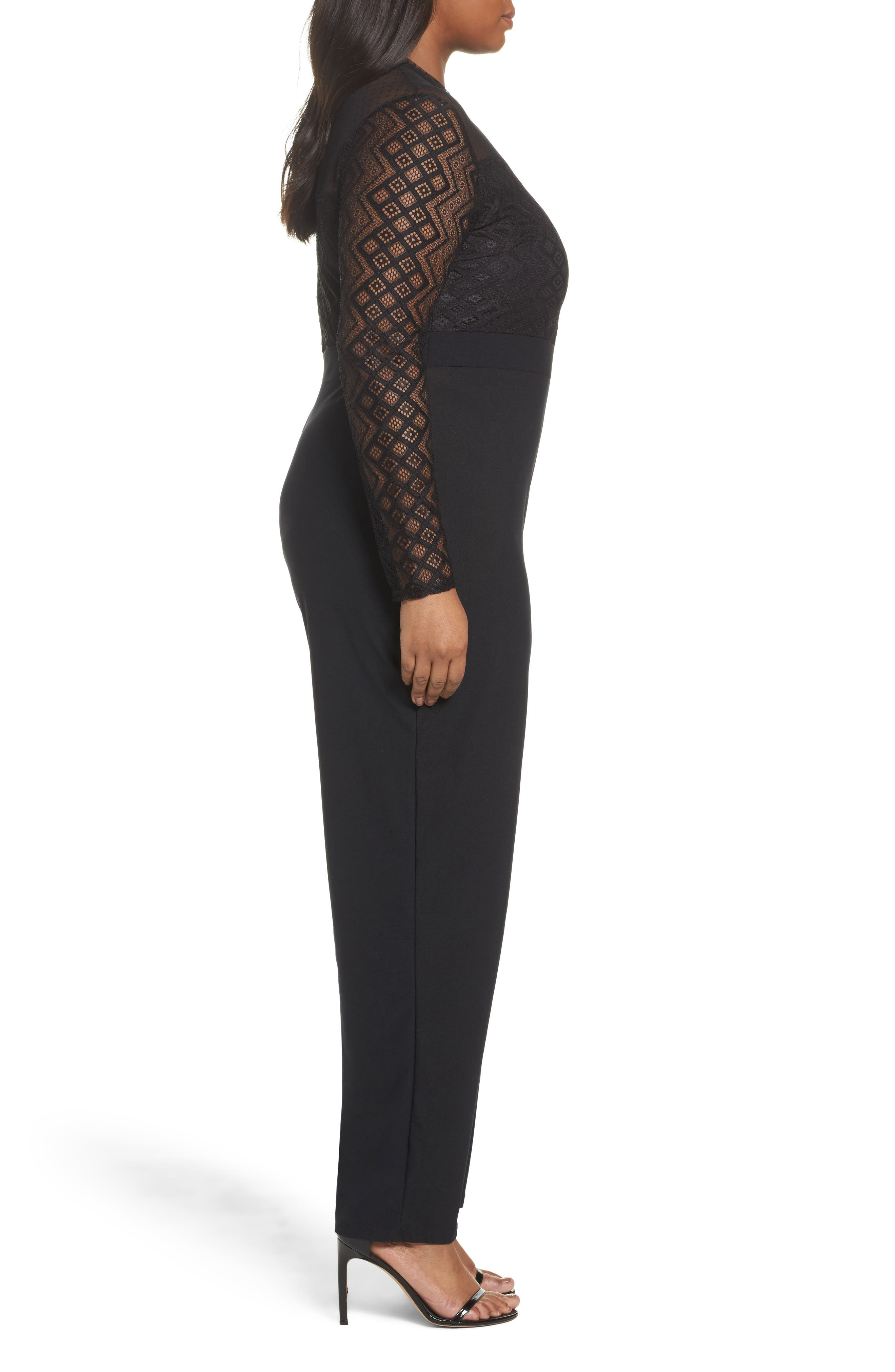Alternate Image 3  - LOST INK Lace Overlay Jumpsuit (Plus Size)