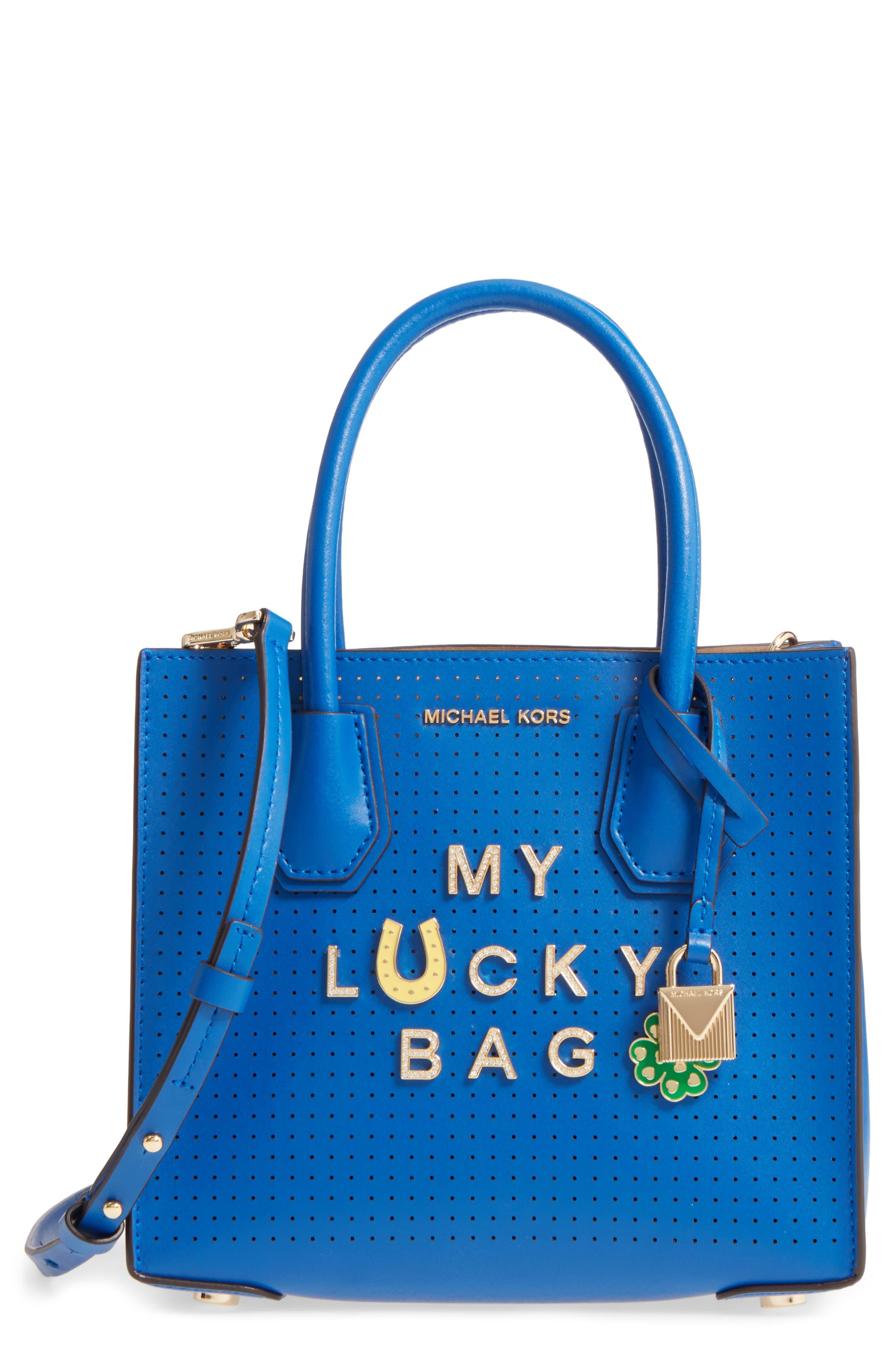 MICHAEL Michael Kors Medium Mercer Leather Crossbody Bag,                             Main thumbnail 1, color,                             Electric Blue