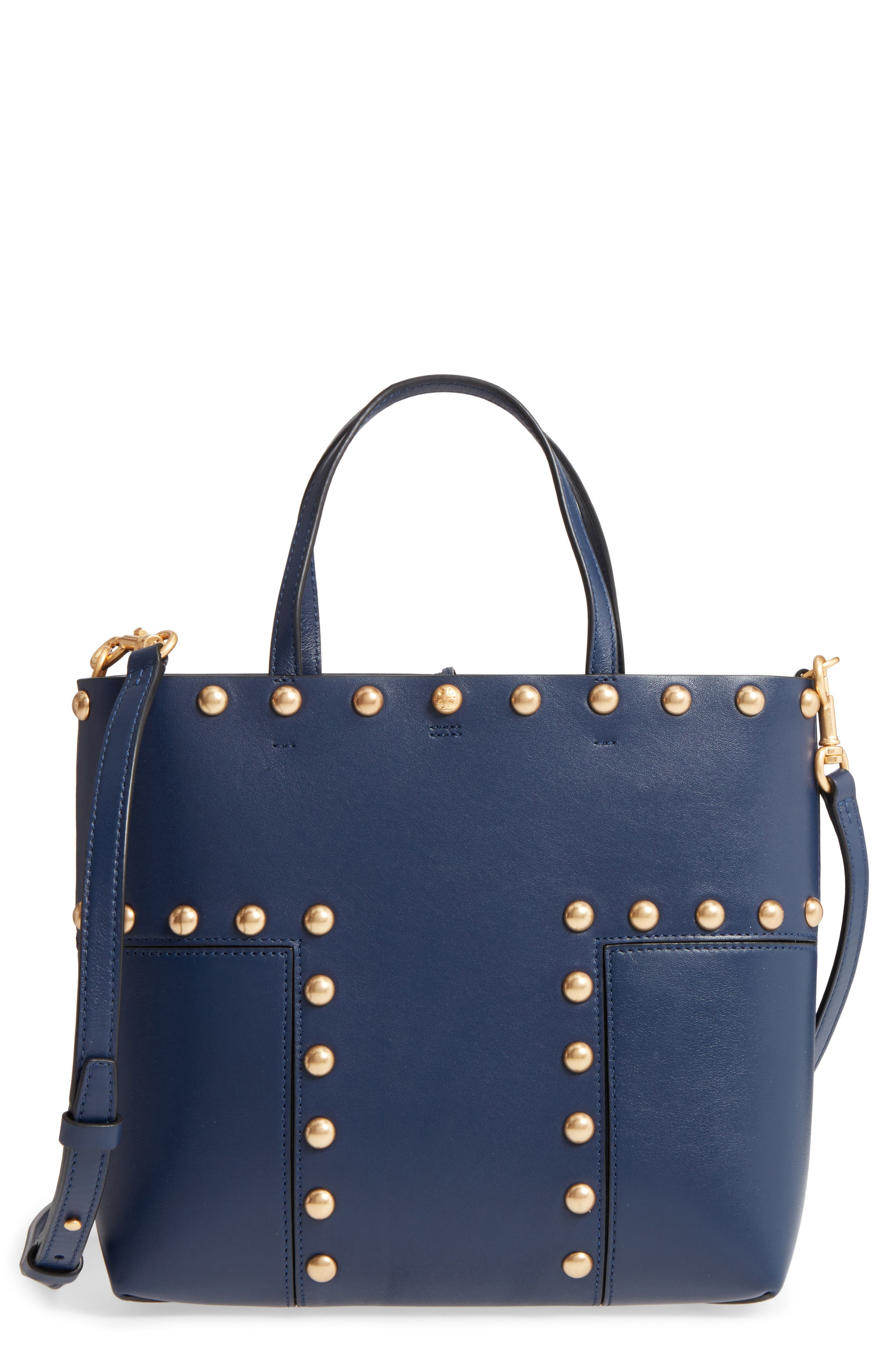 Block-T Mini Studded Leather Tote,                         Main,                         color, Royal Navy