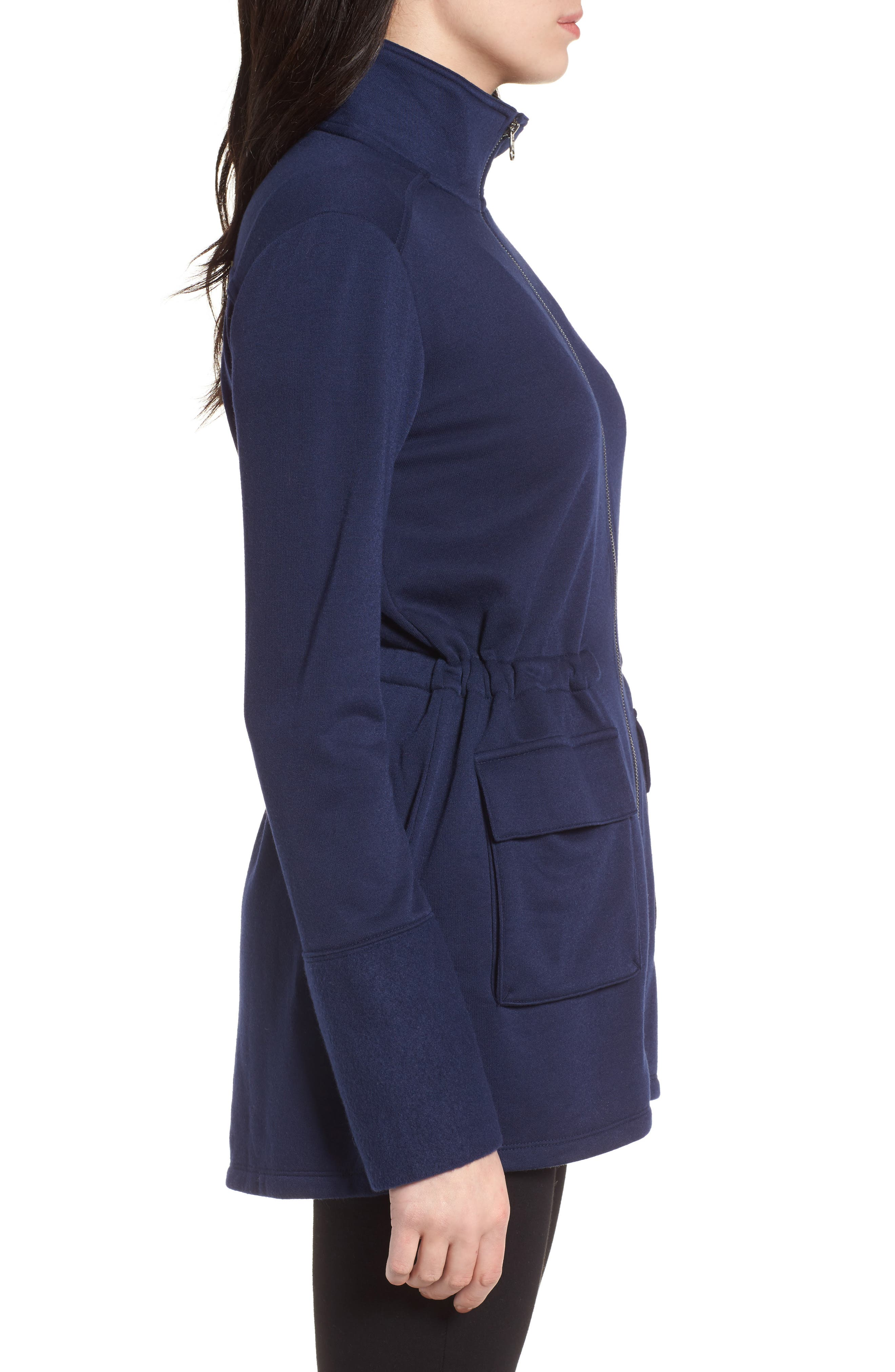 Gathered Waist Front Zip Jacket,                             Alternate thumbnail 3, color,                             Navy Peacoat