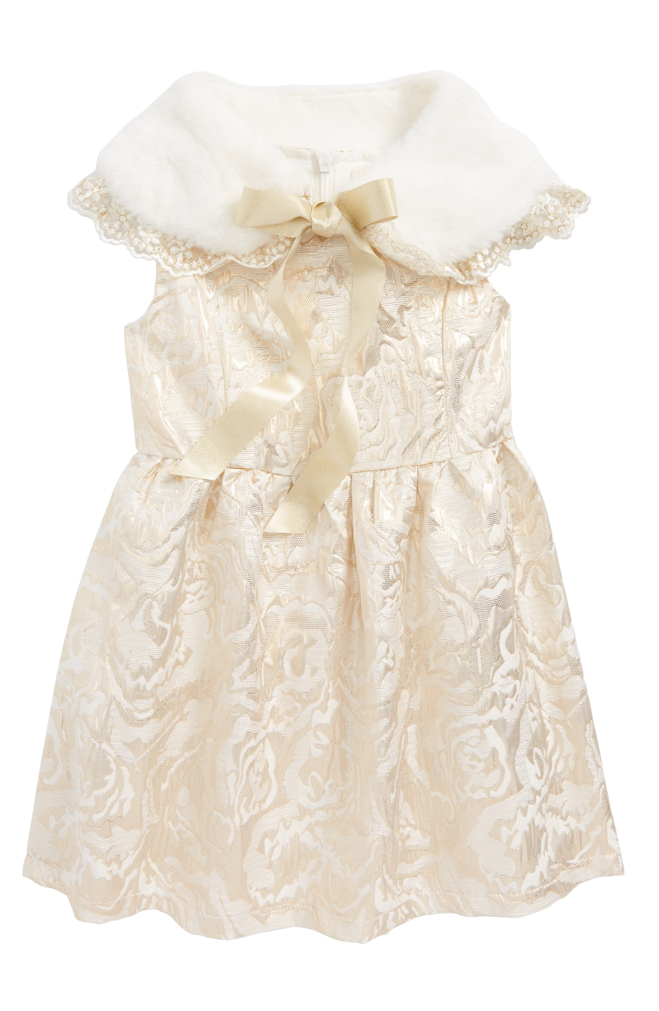 Metallic Jacquard Skater Dress with Faux Fux Collar,                         Main,                         color, Gold