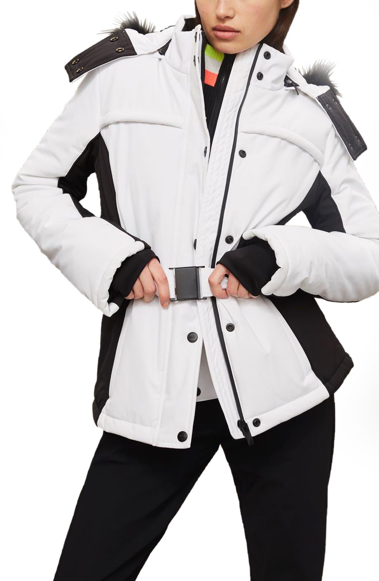 Topshop SNO Falcon Faux Fur Hood Colorblock Jacket