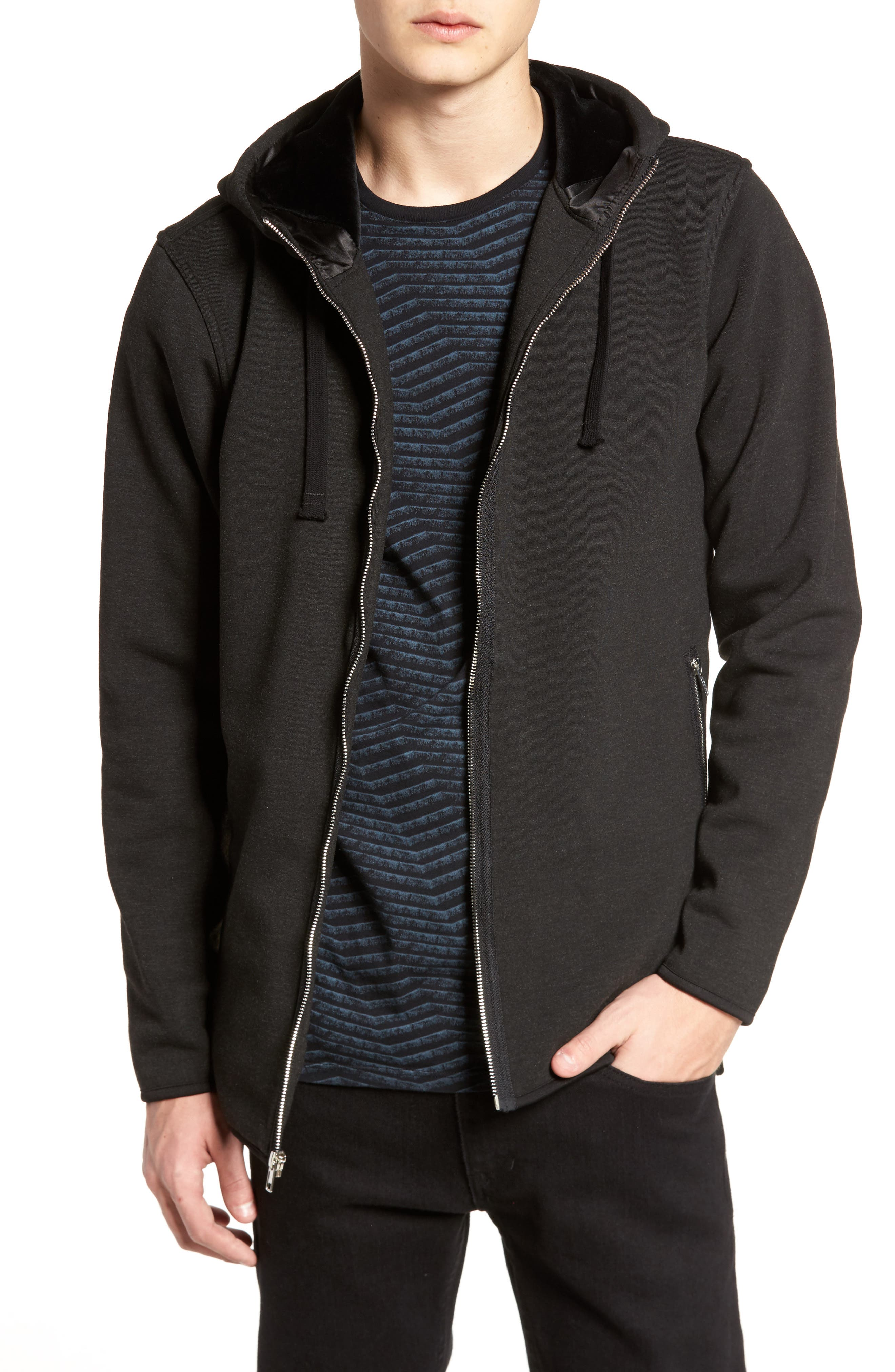 Zip Hoodie,                         Main,                         color, Charcoal
