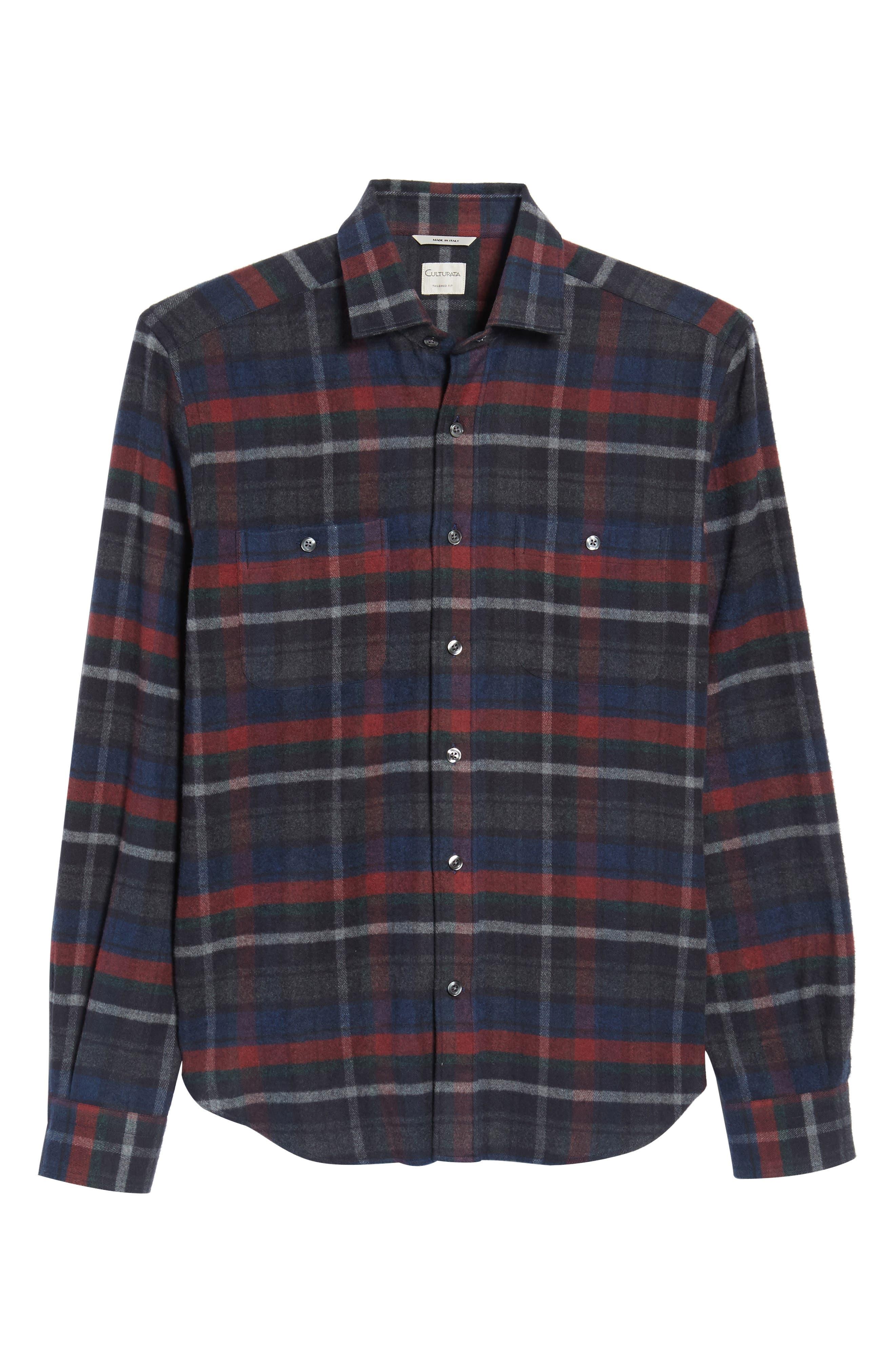 Plaid Flannel Sport Shirt,                             Alternate thumbnail 6, color,                             Charcoal