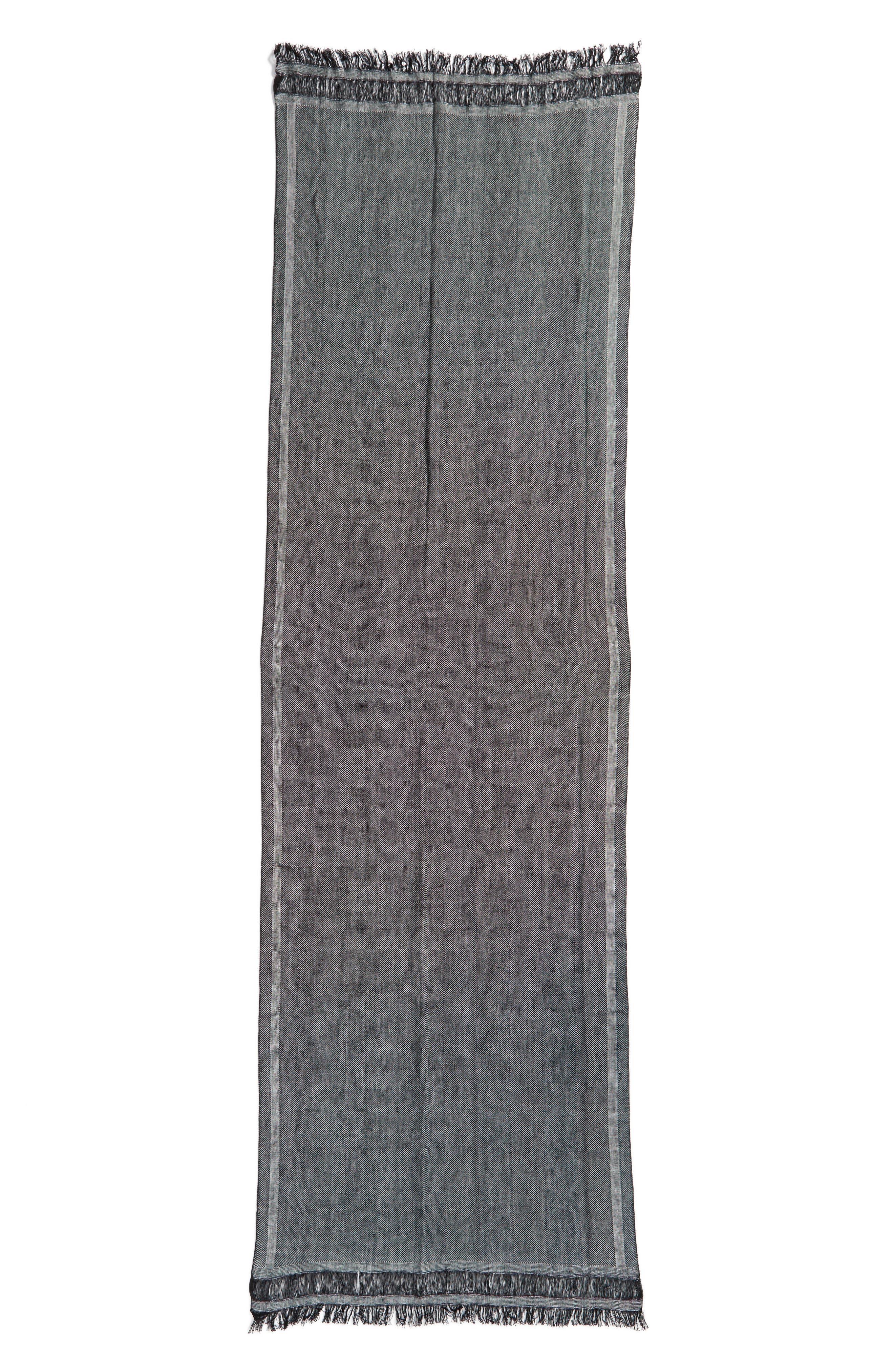 Woven Stripe Scarf,                             Alternate thumbnail 3, color,                             Black