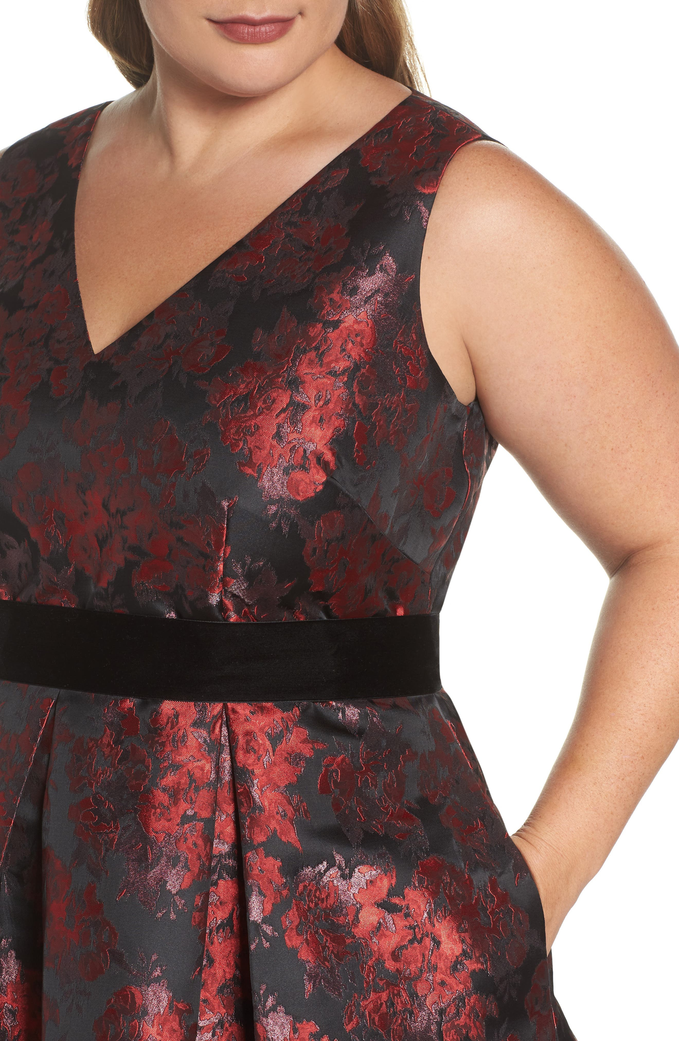 Alternate Image 4  - Eliza J Sleeveless Jacquard High/Low Dress (Plus Size)