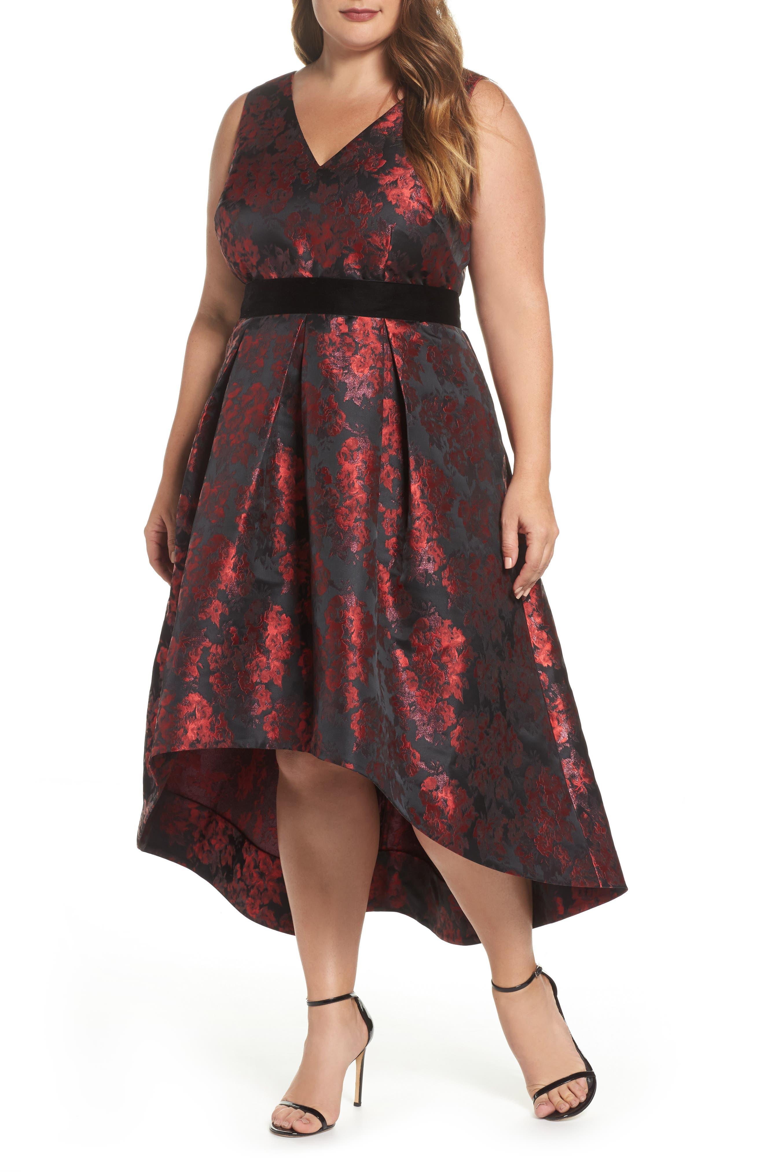 Sleeveless Jacquard High/Low Dress,                         Main,                         color, Red/ Black