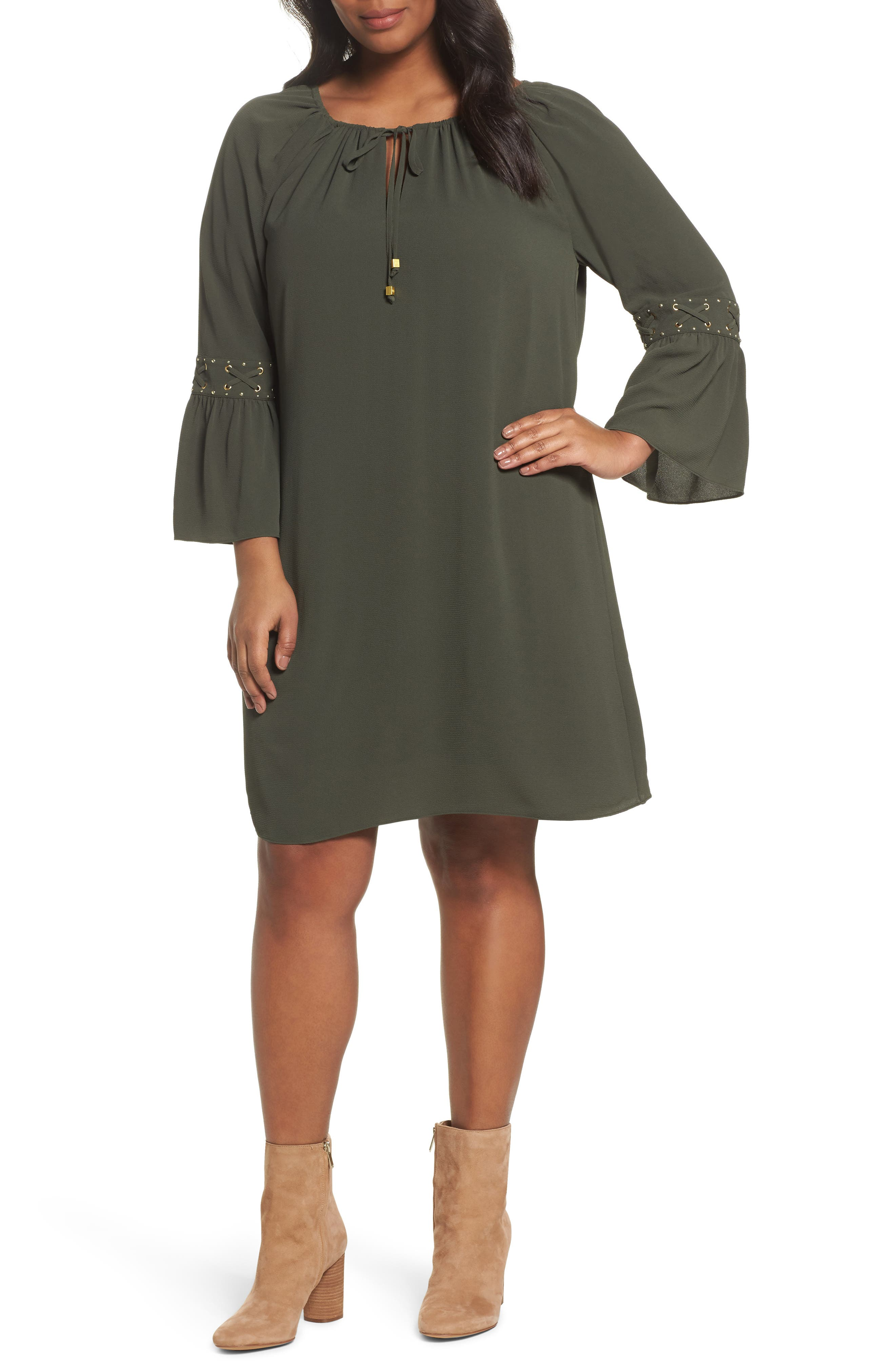 Lace-Up Sleeve Dress,                         Main,                         color, Ivy