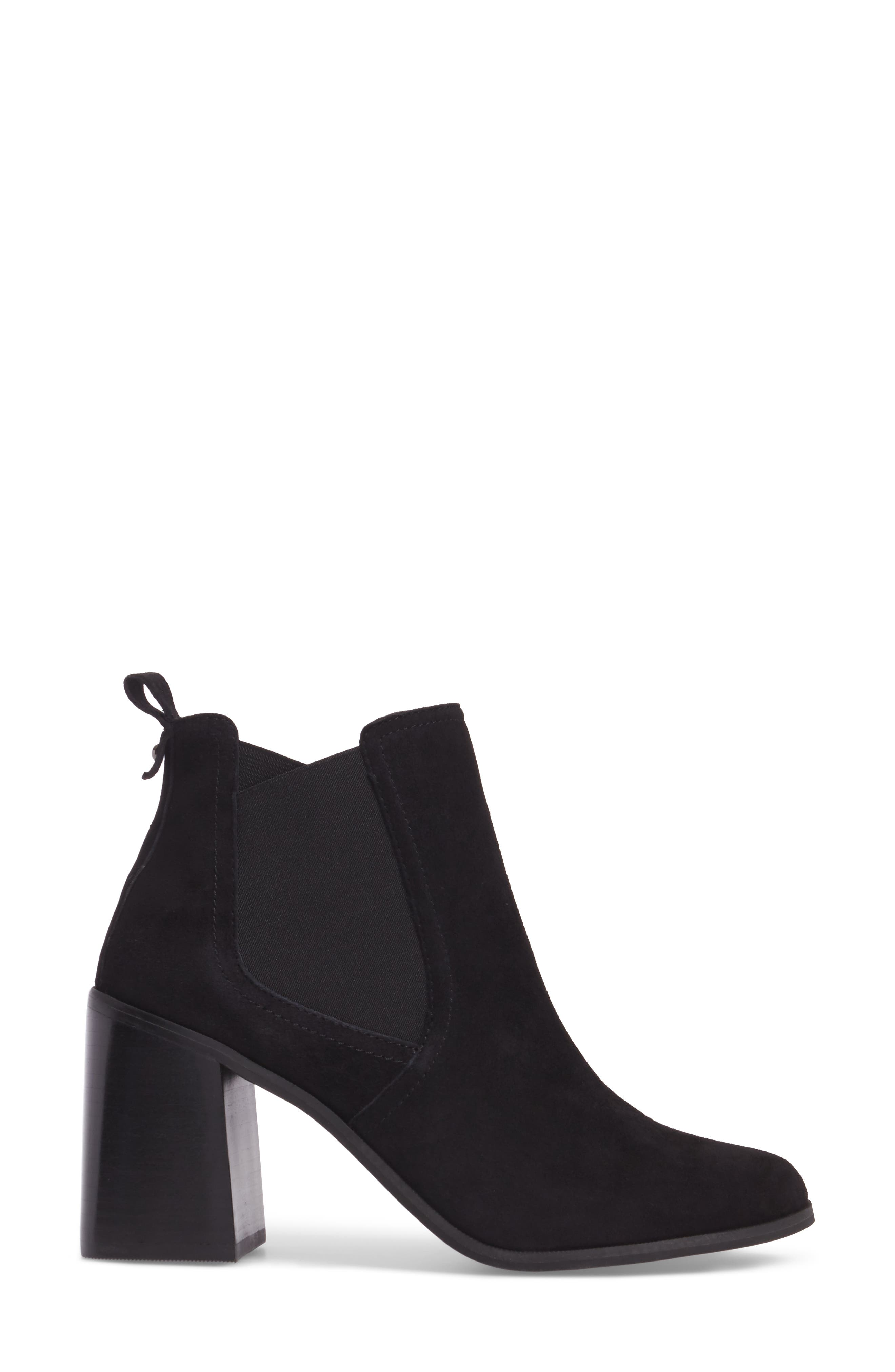 Quinn Flared Heel Chelsea Bootie,                             Alternate thumbnail 4, color,                             Black Suede