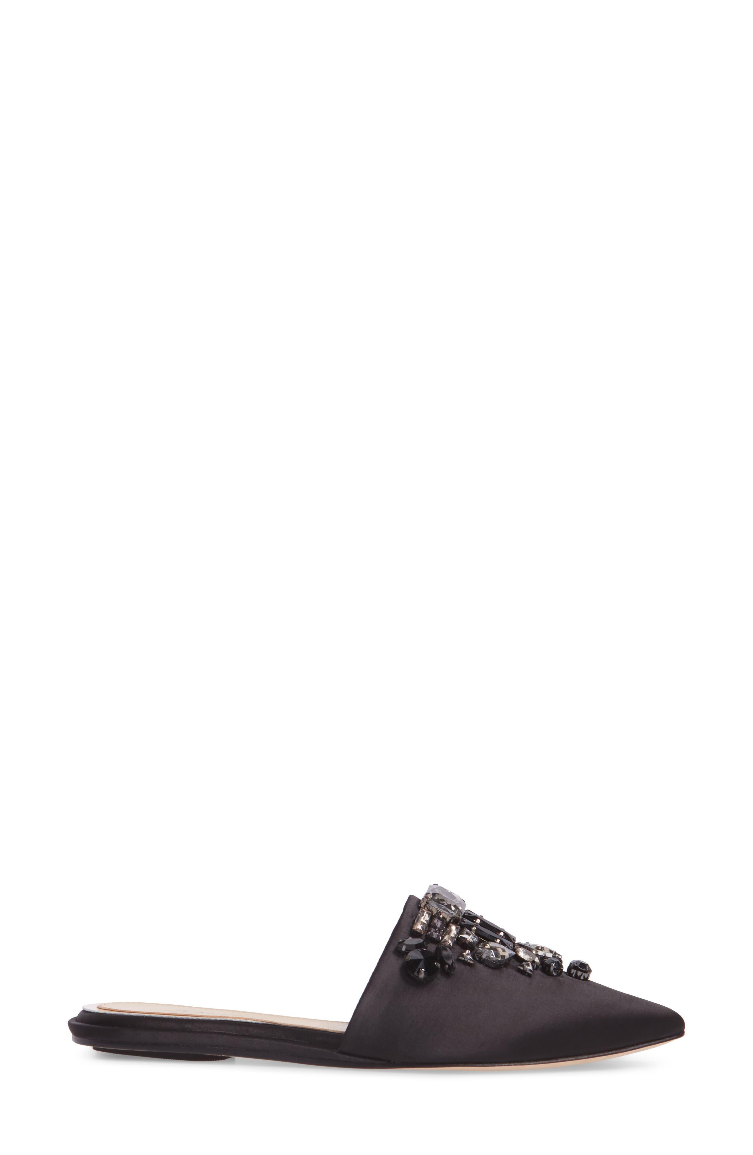 Imagine Vince Camuto Caide Embellished Mule,                             Alternate thumbnail 3, color,                             Black Satin