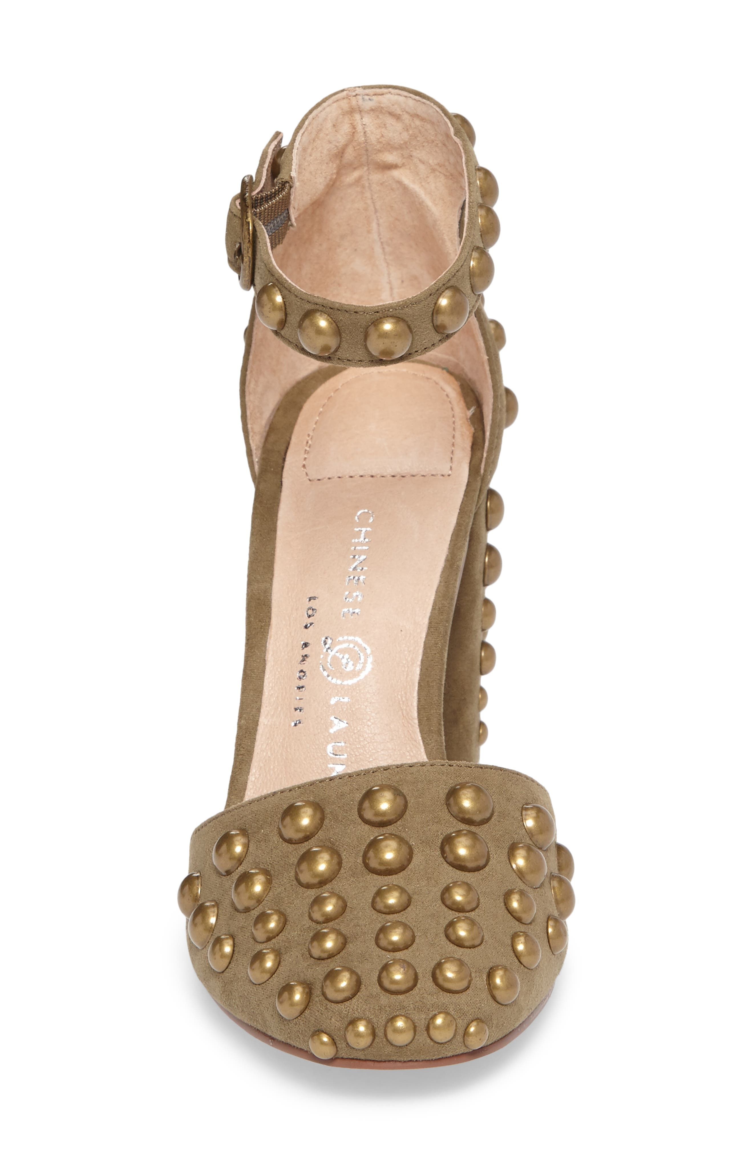 Vegas Studded Pump,                             Alternate thumbnail 4, color,                             Olive Suede