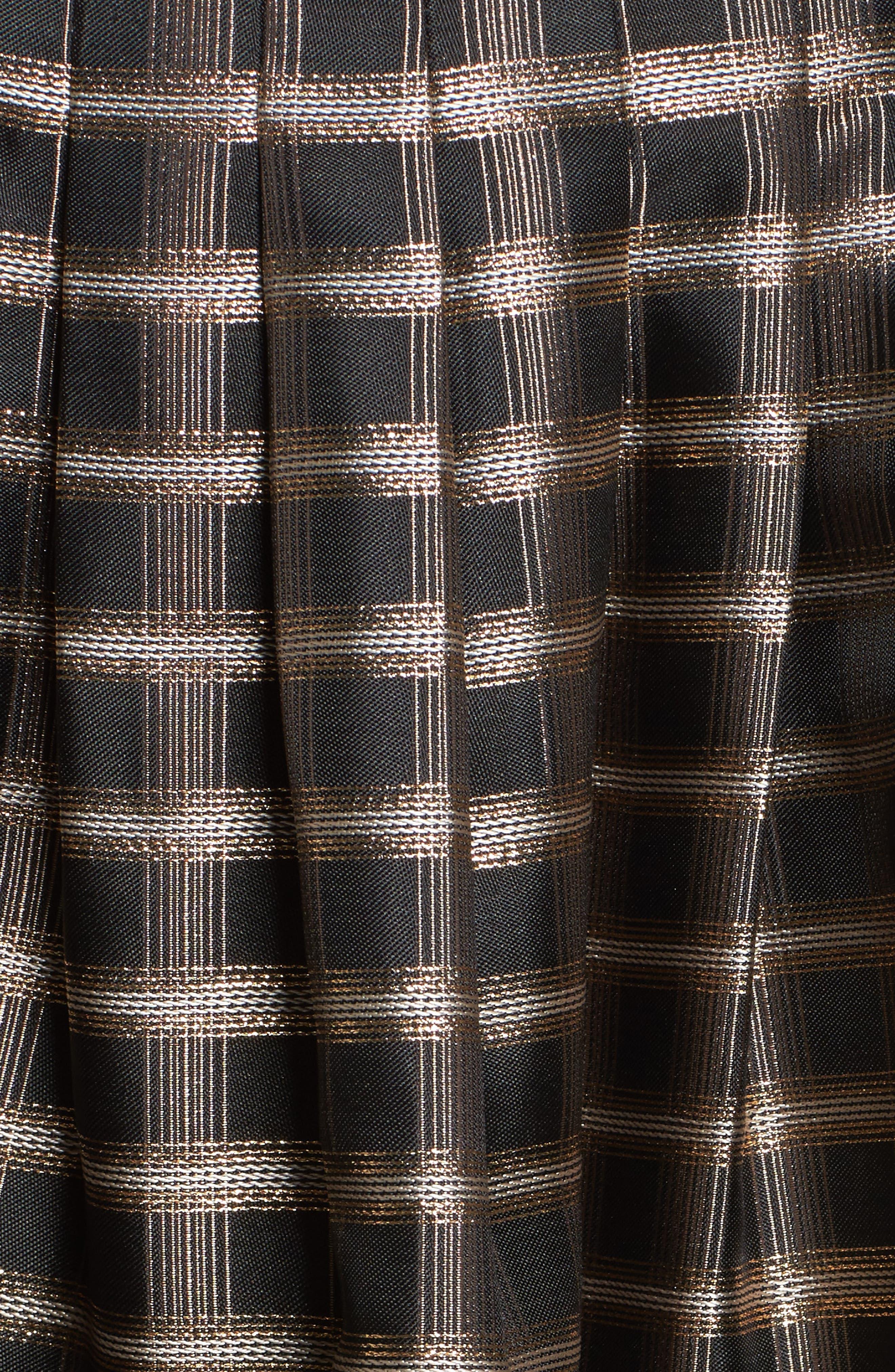Metallic Jacquard Fit & Flare Dress,                             Alternate thumbnail 5, color,                             Black/ Gold/ Copper