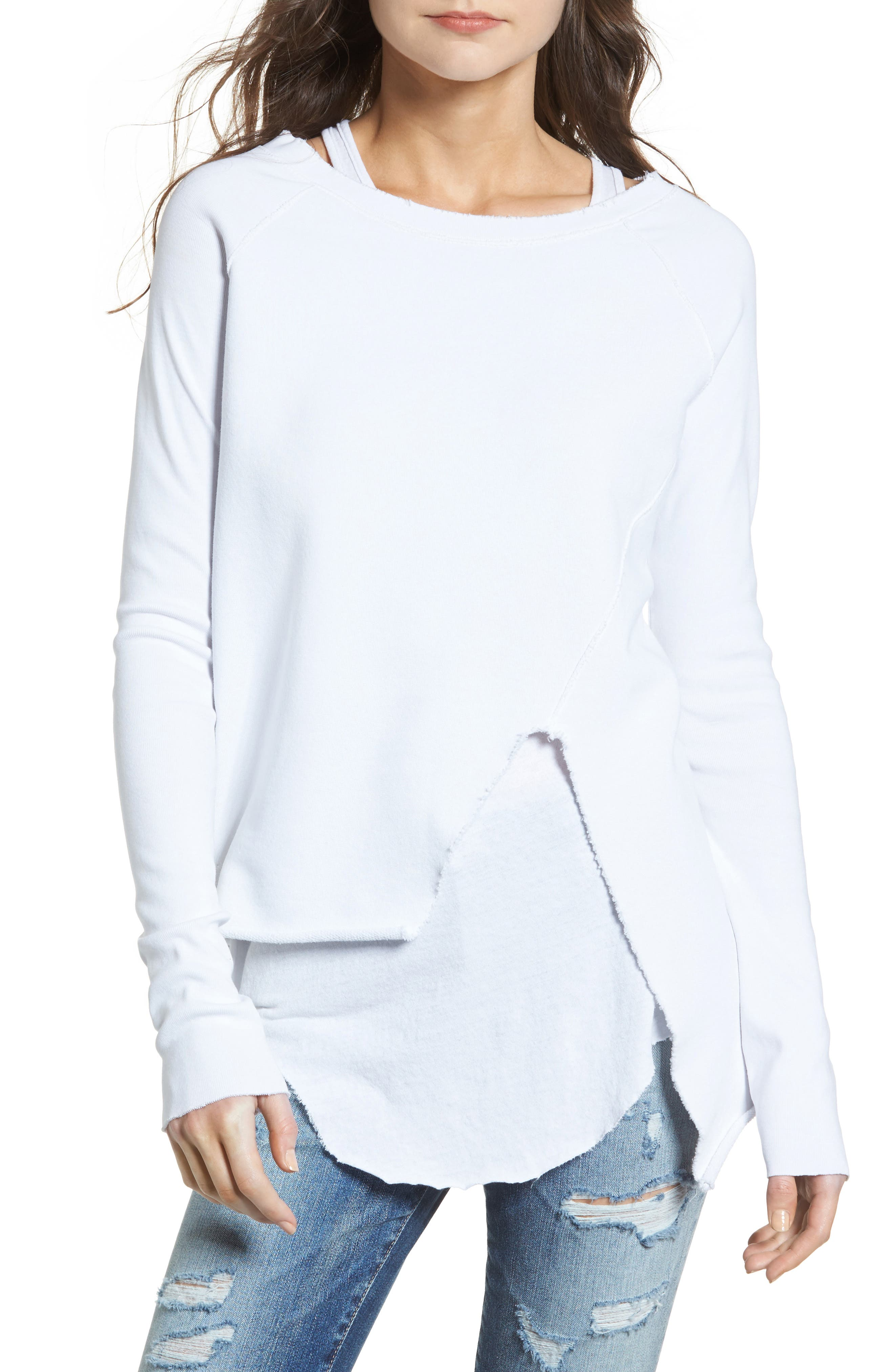 Tee Lab Asymmetrical Sweatshirt,                         Main,                         color, Dirty White