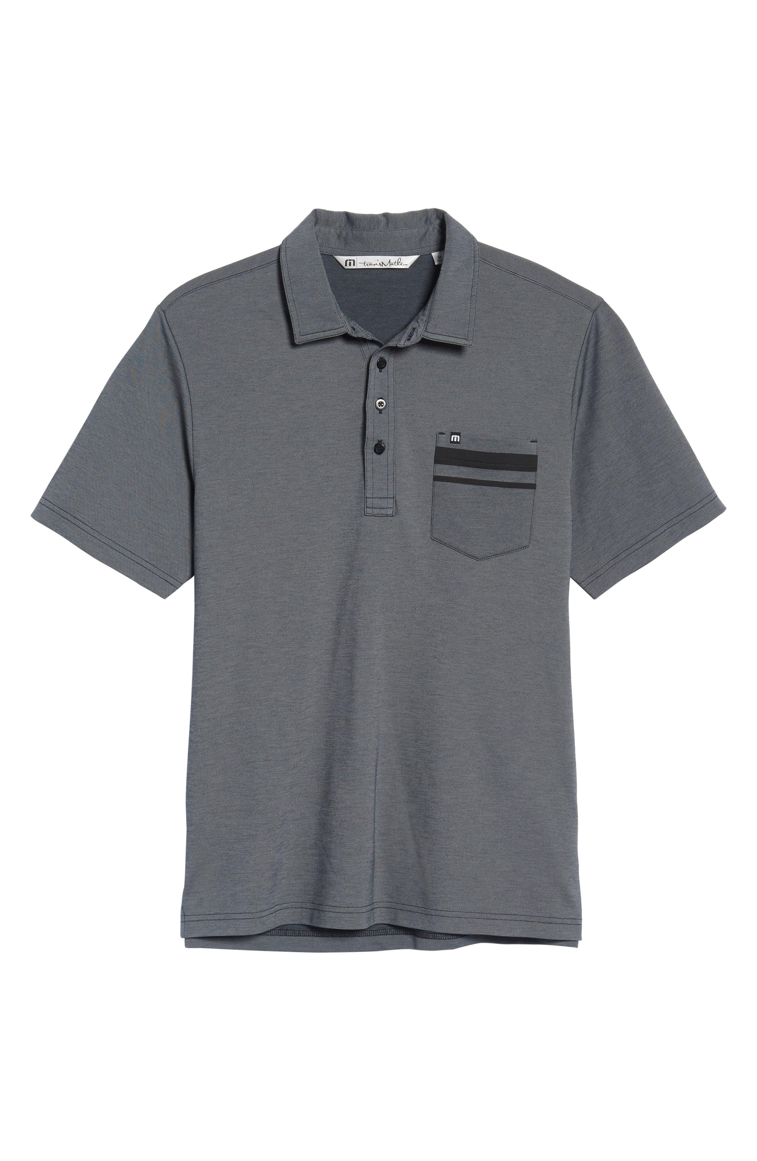 Hammond Piqué Polo,                             Alternate thumbnail 6, color,                             Black/ Sharkskin