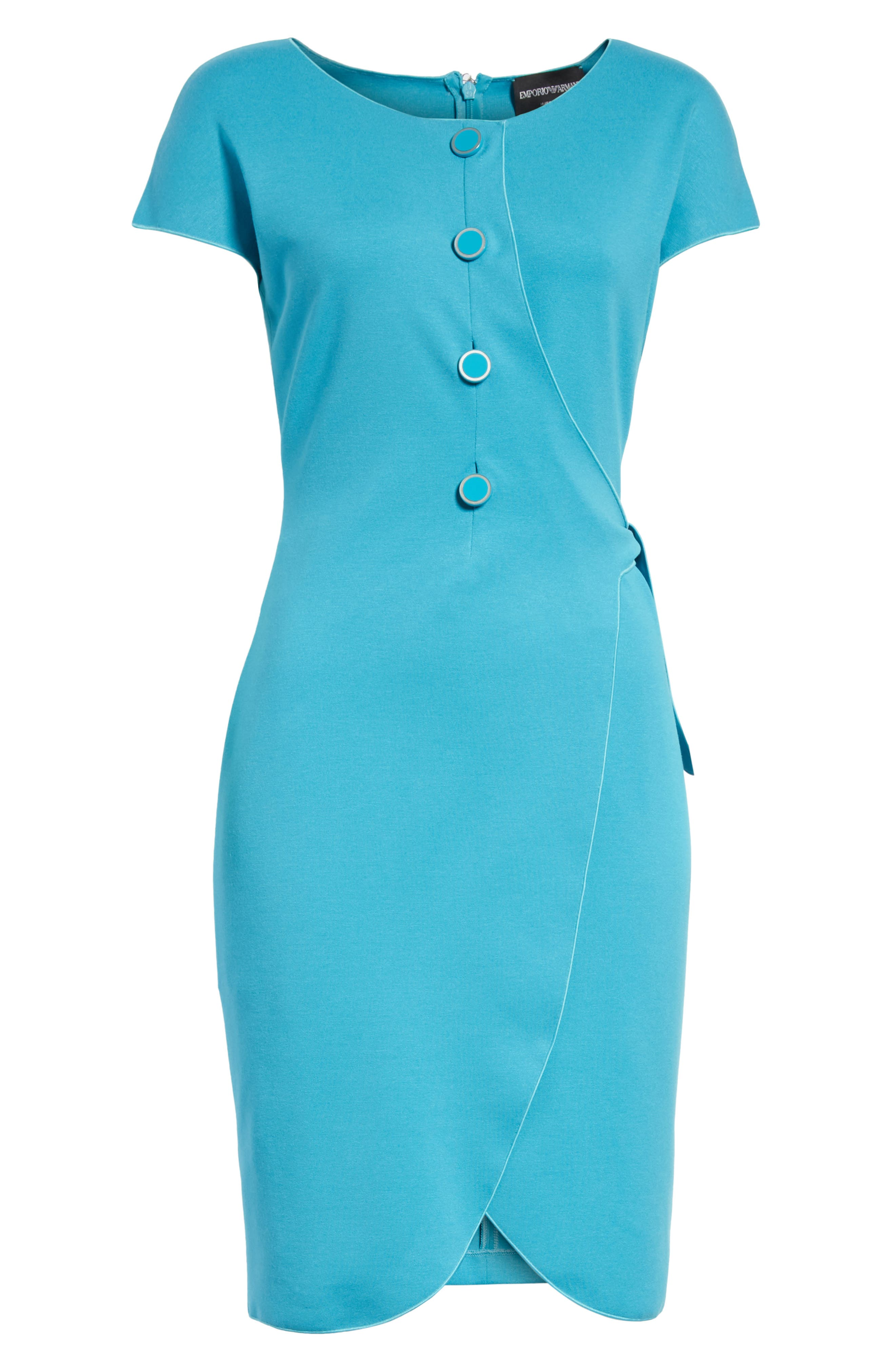 Knotted Wrap Skirt Dress,                             Alternate thumbnail 7, color,                             Solid Turquoise/ Aqua