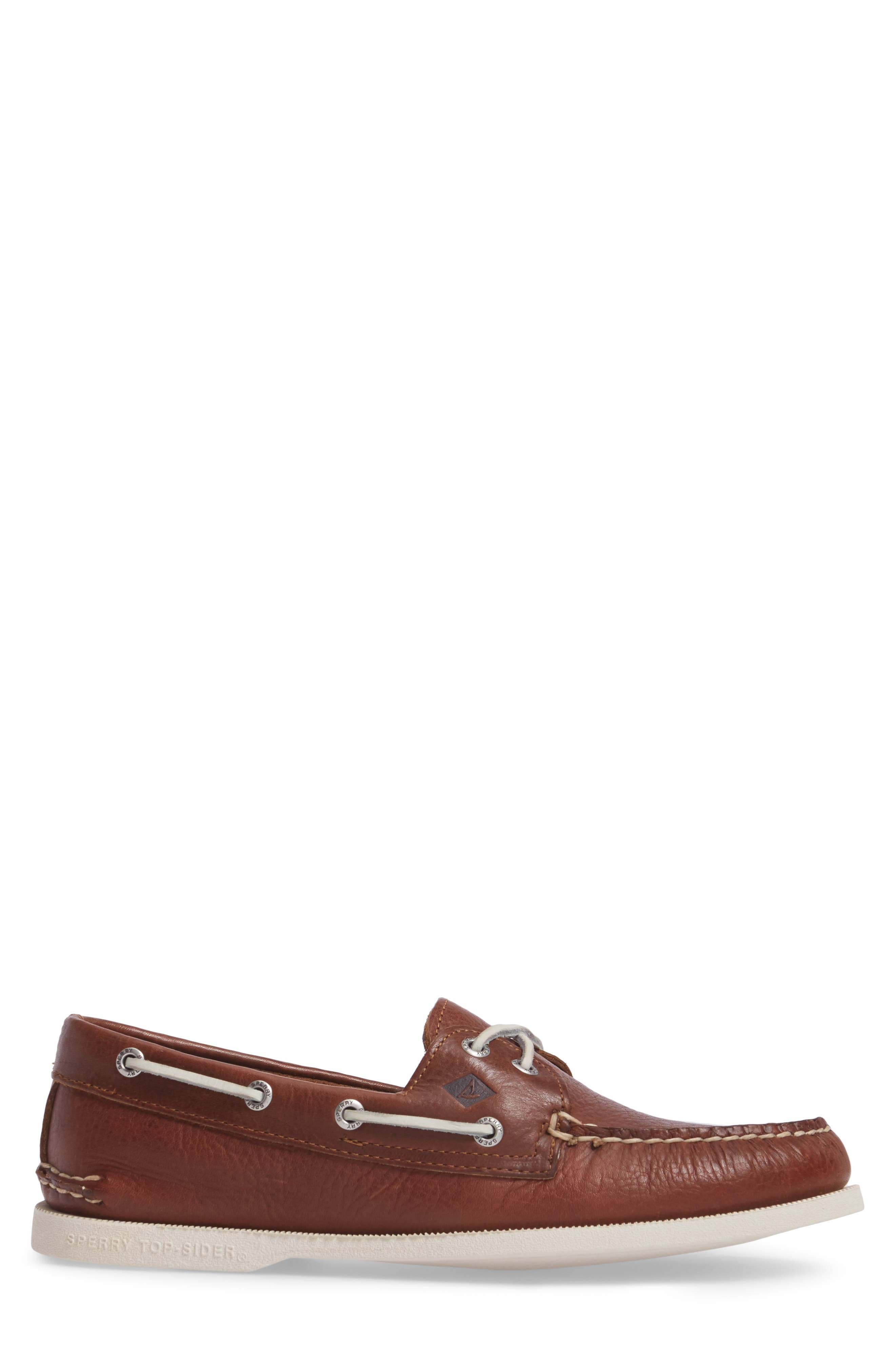Authentic Original Boat Shoe,                             Alternate thumbnail 3, color,                             Brown Leather