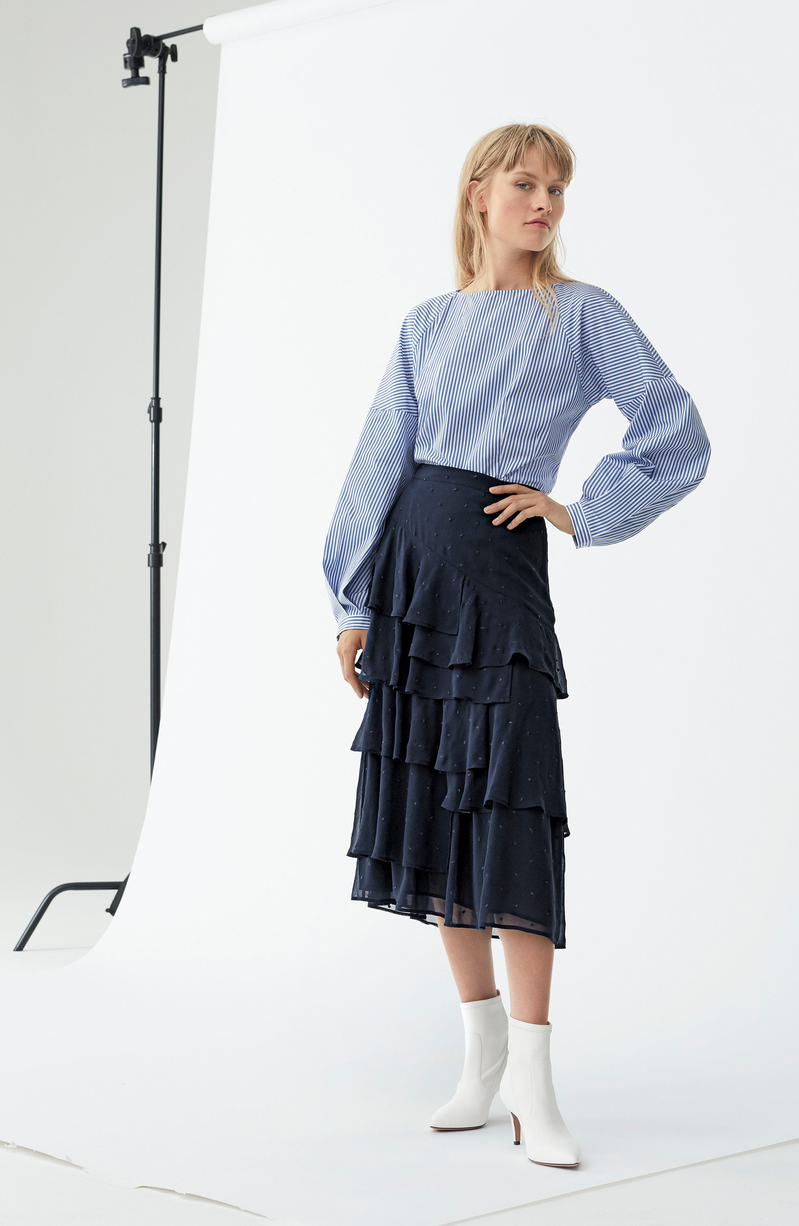 Tiered Silk Chiffon Skirt,                             Alternate thumbnail 2, color,