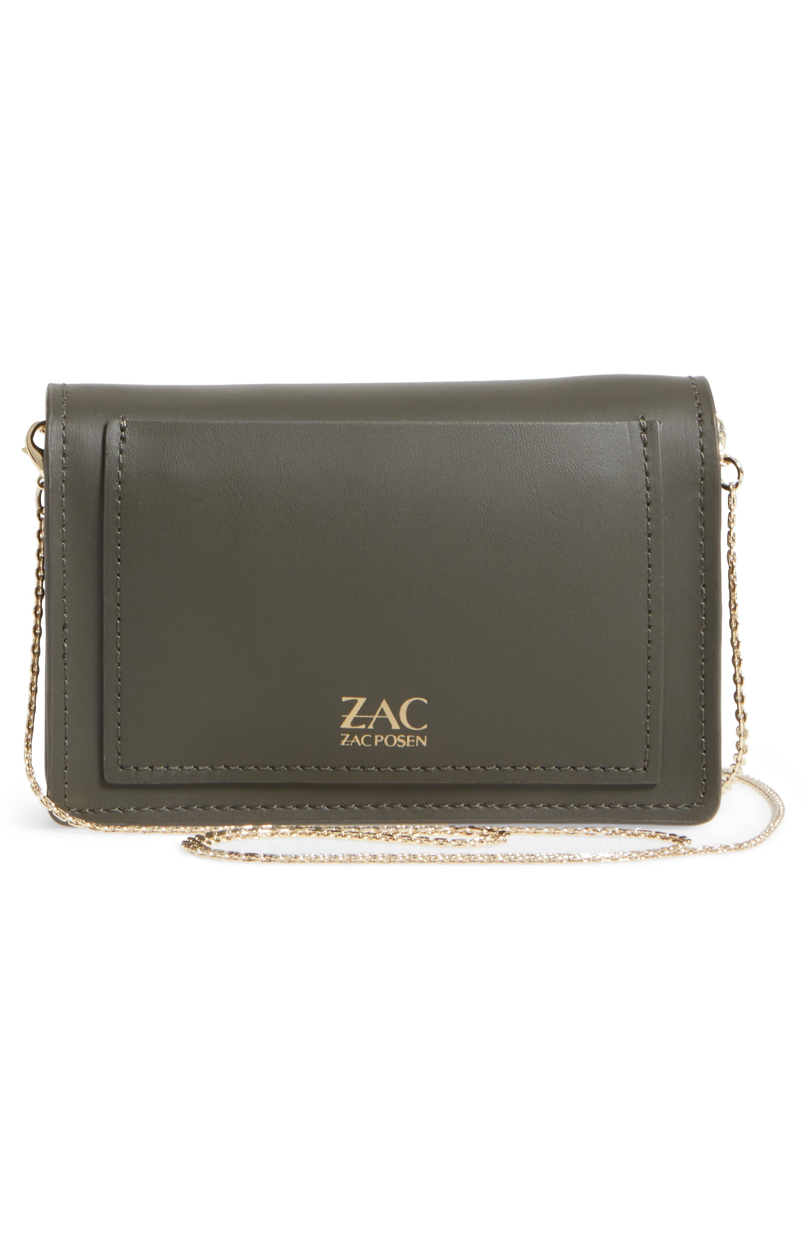 ZAC Zac Posen Earthette Leather Accordion Bag,                             Alternate thumbnail 3, color,                             Forest