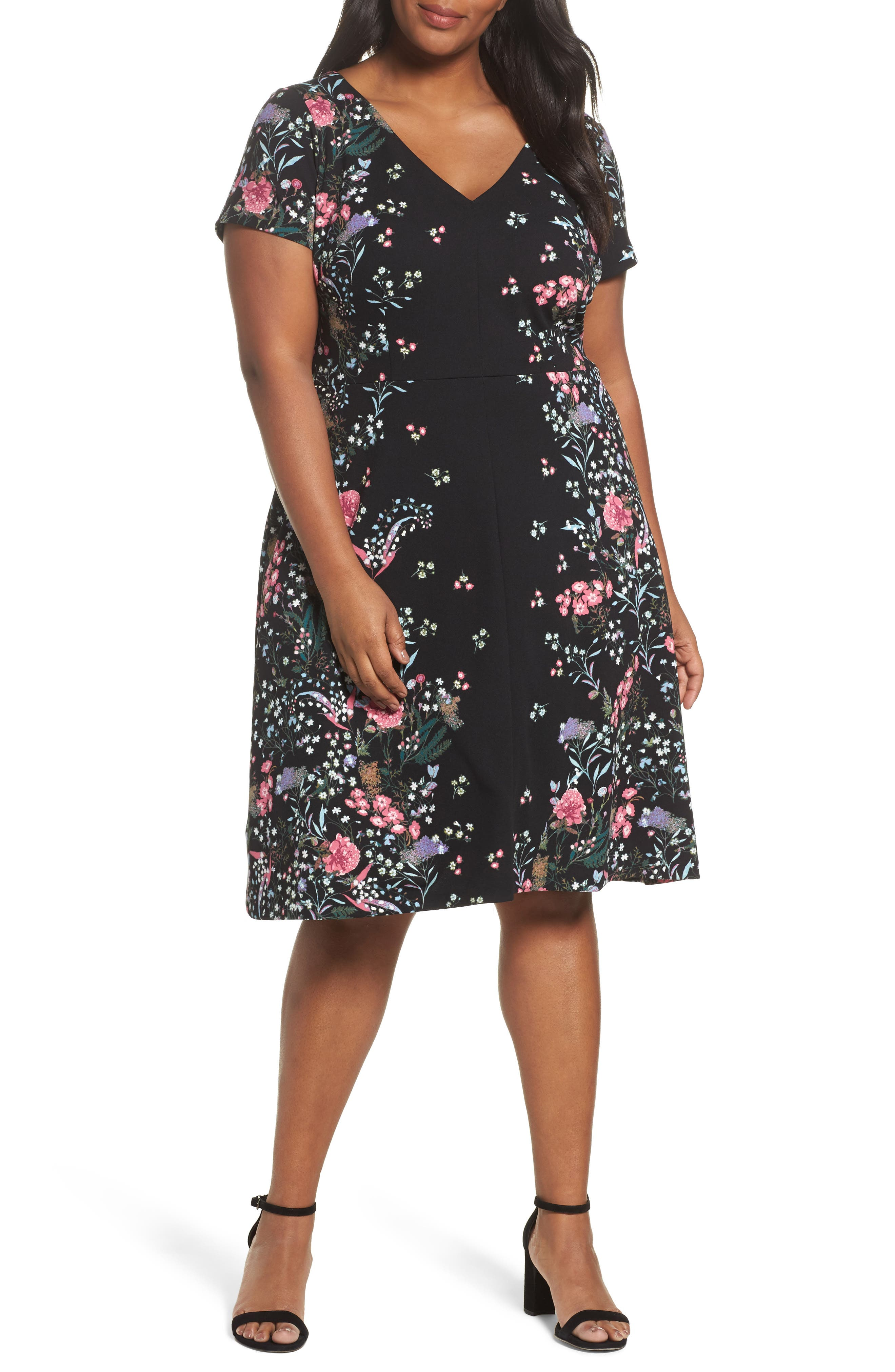 Print Scuba Knit Fit & Flare Dress,                         Main,                         color, Black Multi