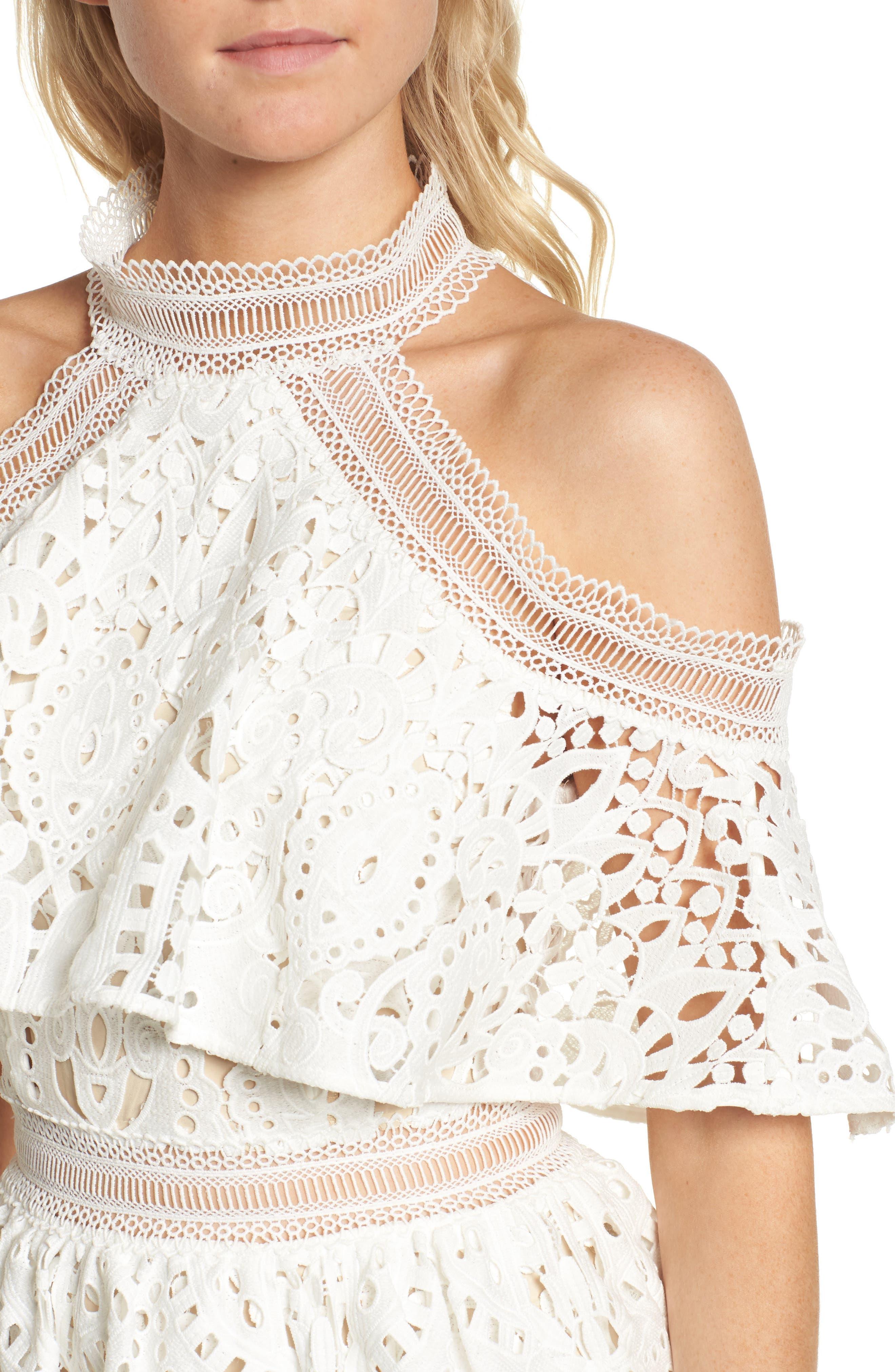 Saint Cloud Cold Shoulder Ruffle Dress,                             Alternate thumbnail 4, color,                             White