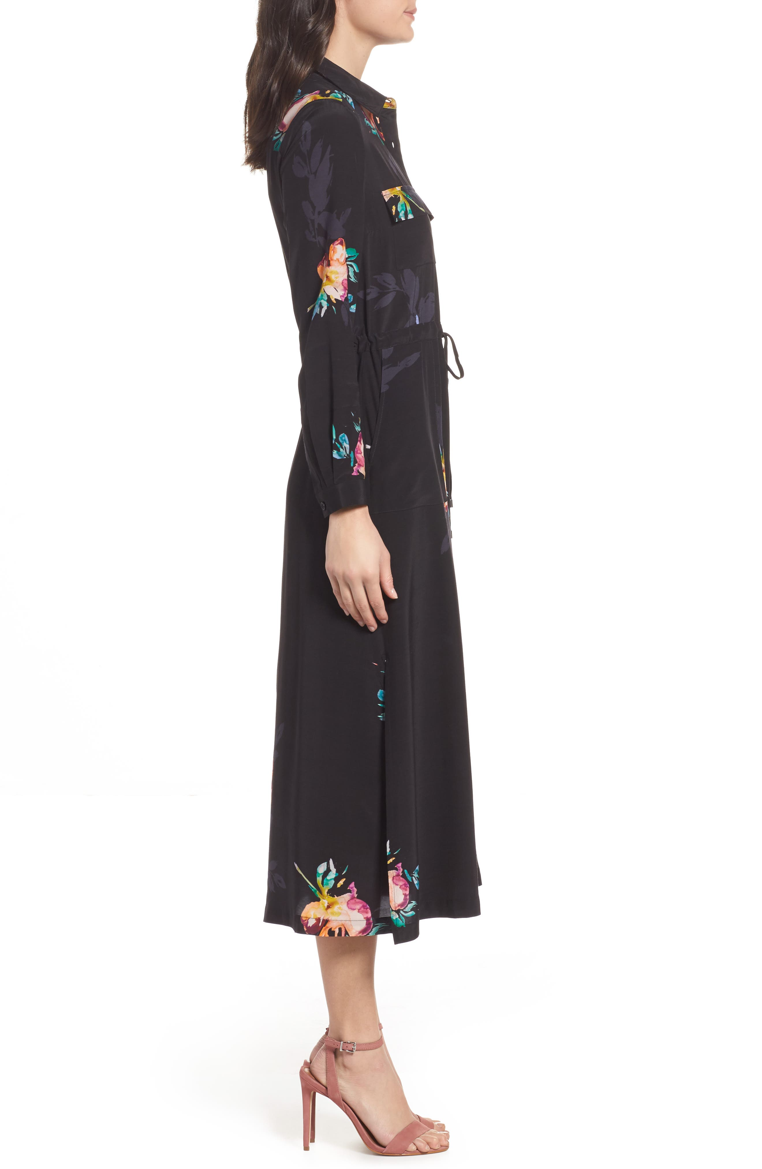 Delphine Midi Shirtdress,                             Alternate thumbnail 3, color,                             Black Multi