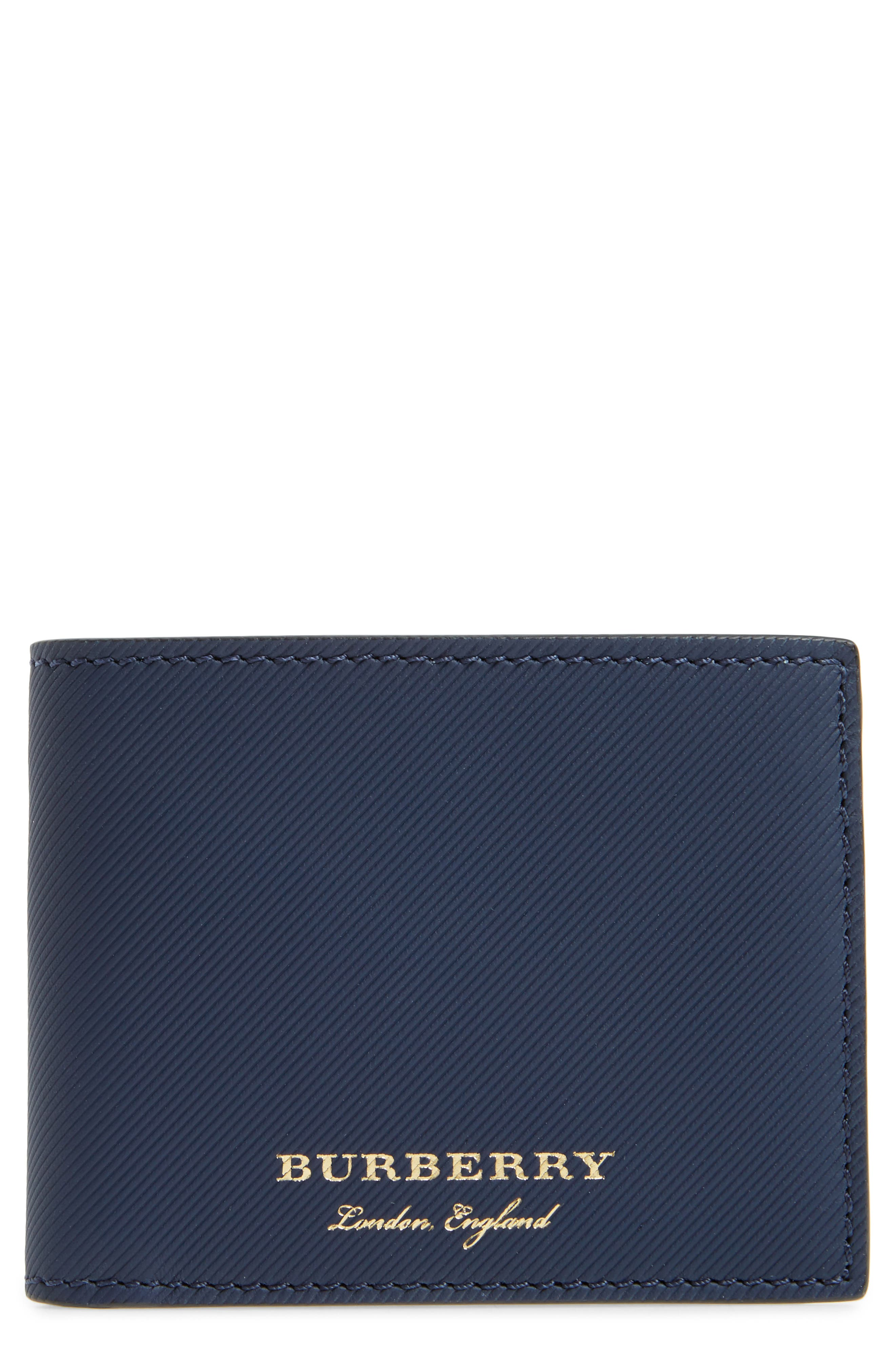 Trench Leather Wallet,                         Main,                         color, Ink Blue