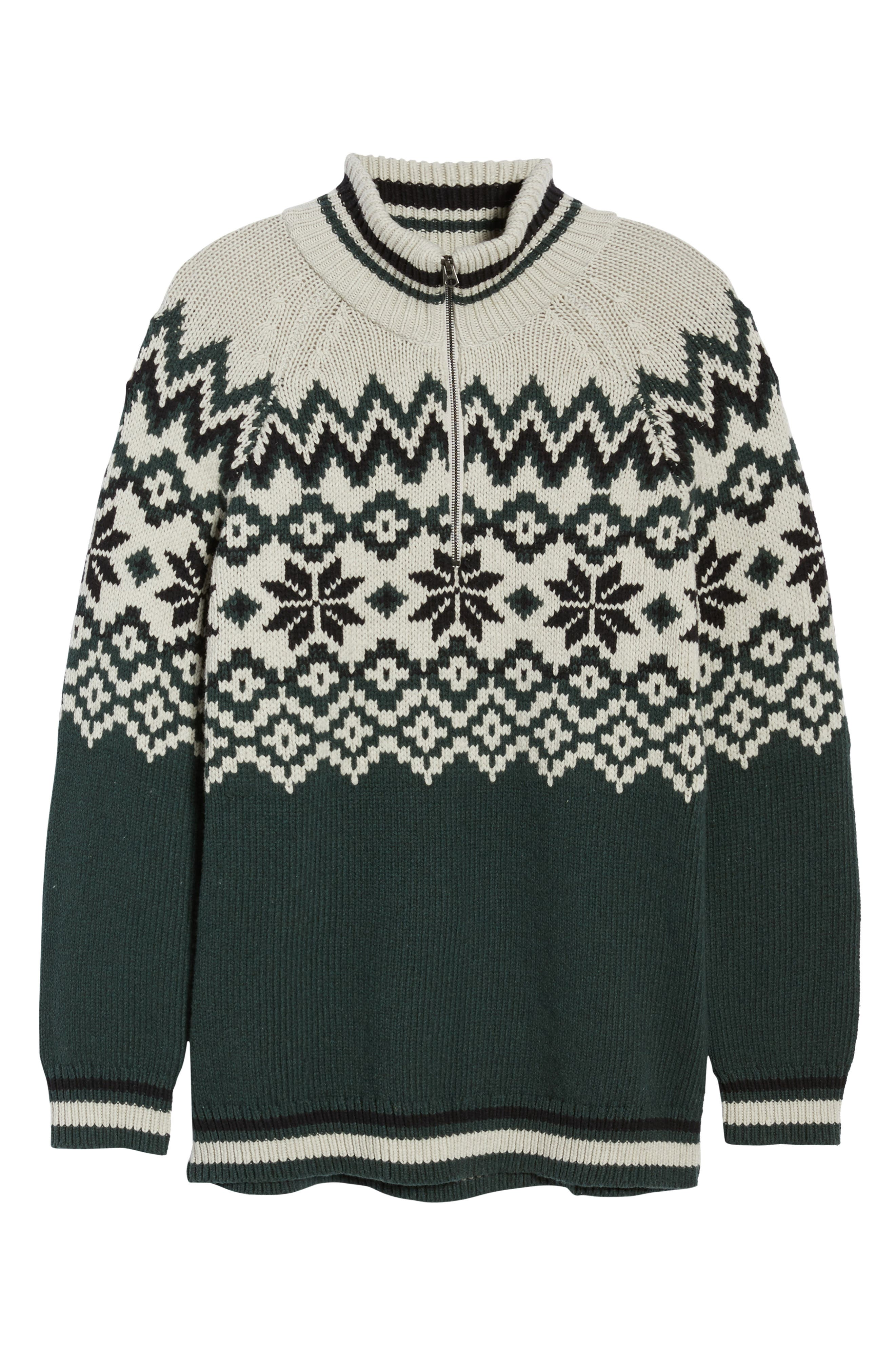 Fair Isle Ski Sweater,                             Alternate thumbnail 6, color,                             Clay/ Darkest Spruce/ Black